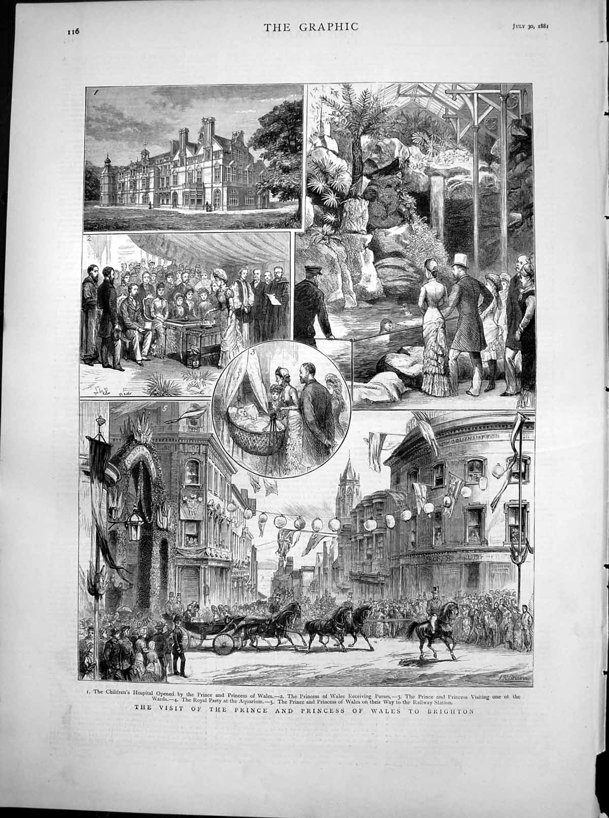 [Print Prince Princess Wales Brighton Childrens Hospital Aquarium1881 443T115 Old Original]