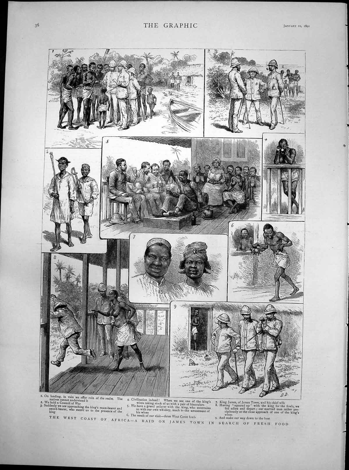 [Print West Coast Africa Raid James Town Search Fresh Food 1891 615T115 Old Original]