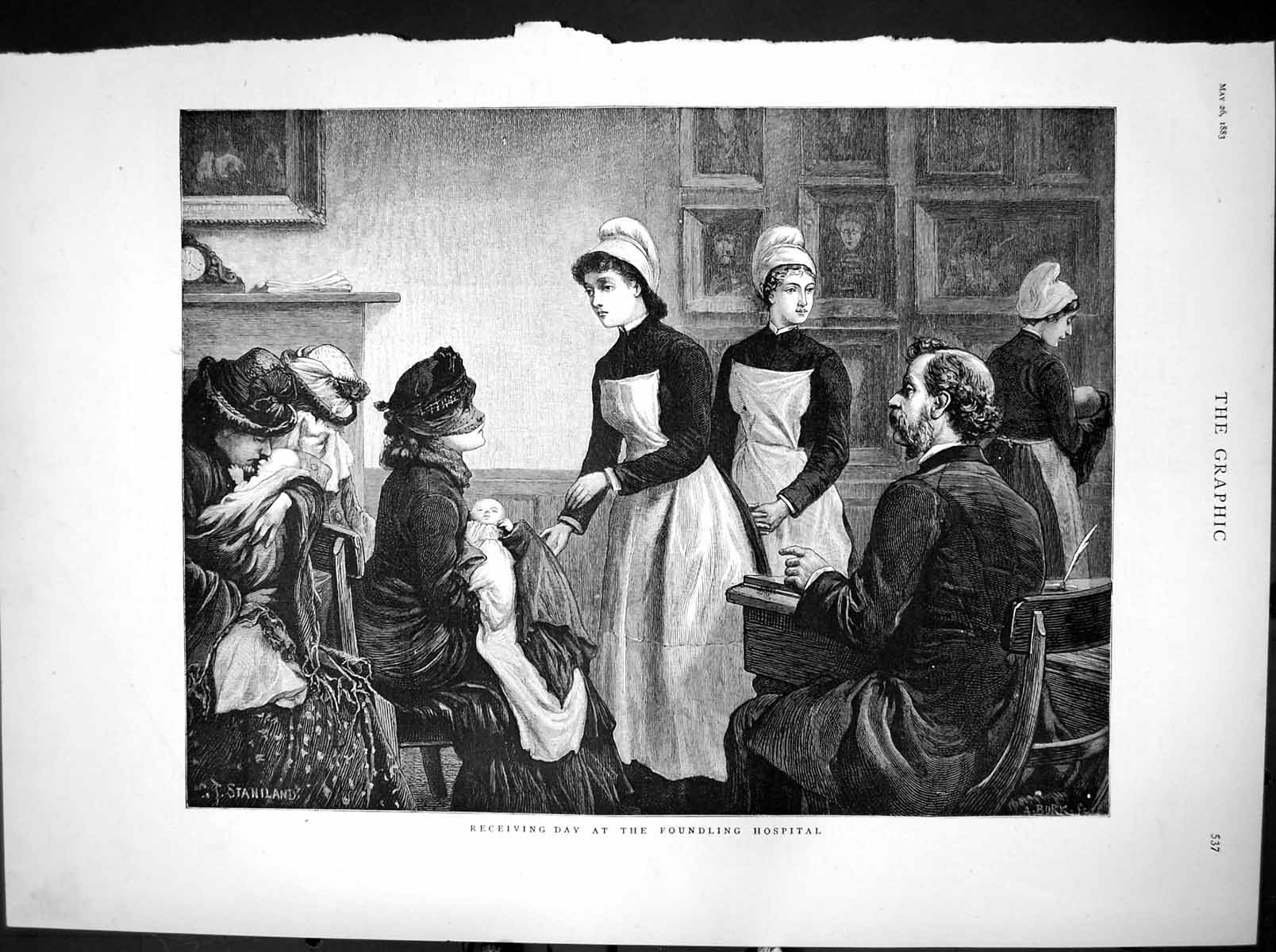 [Print Receiving Day Foundling Hospital Deserted Infants 1883 809T116 Old Original]