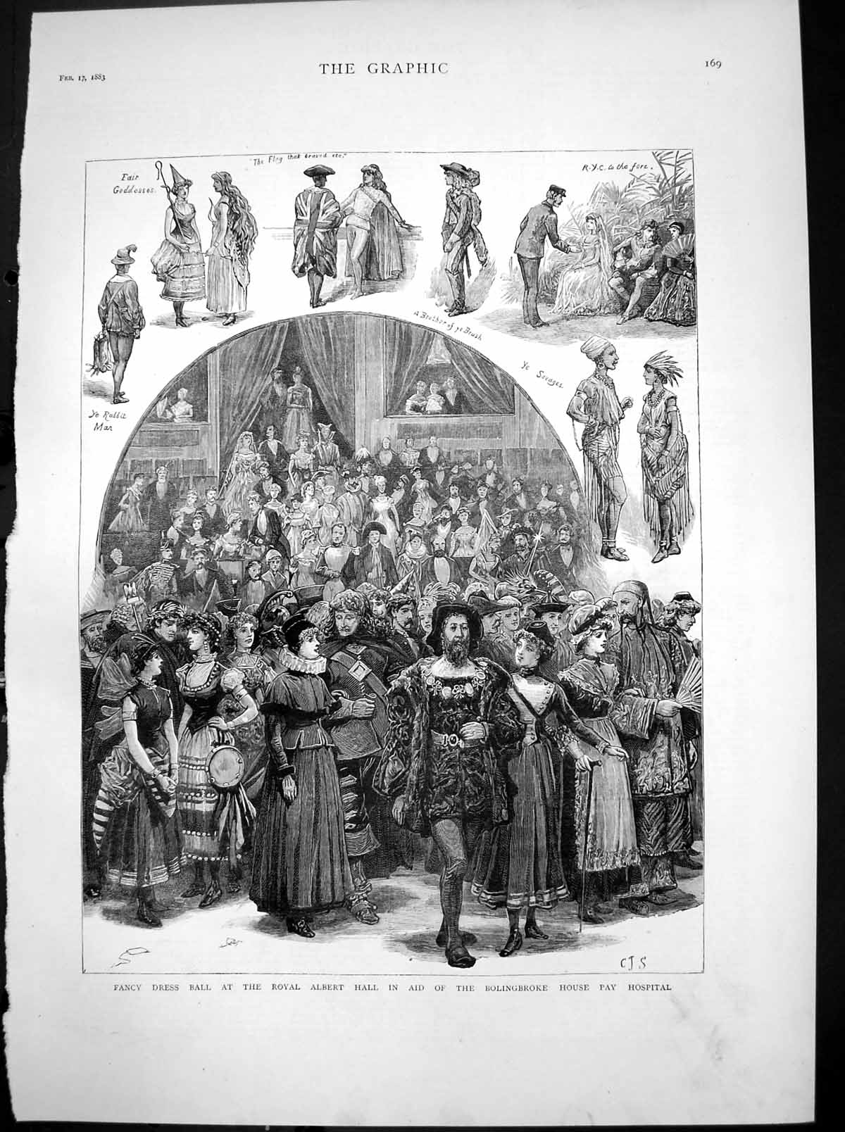 [Print Ball Royal Albert Hall Aid Bolingbroke House Pay Hospital 1883 870T116 Old Original]