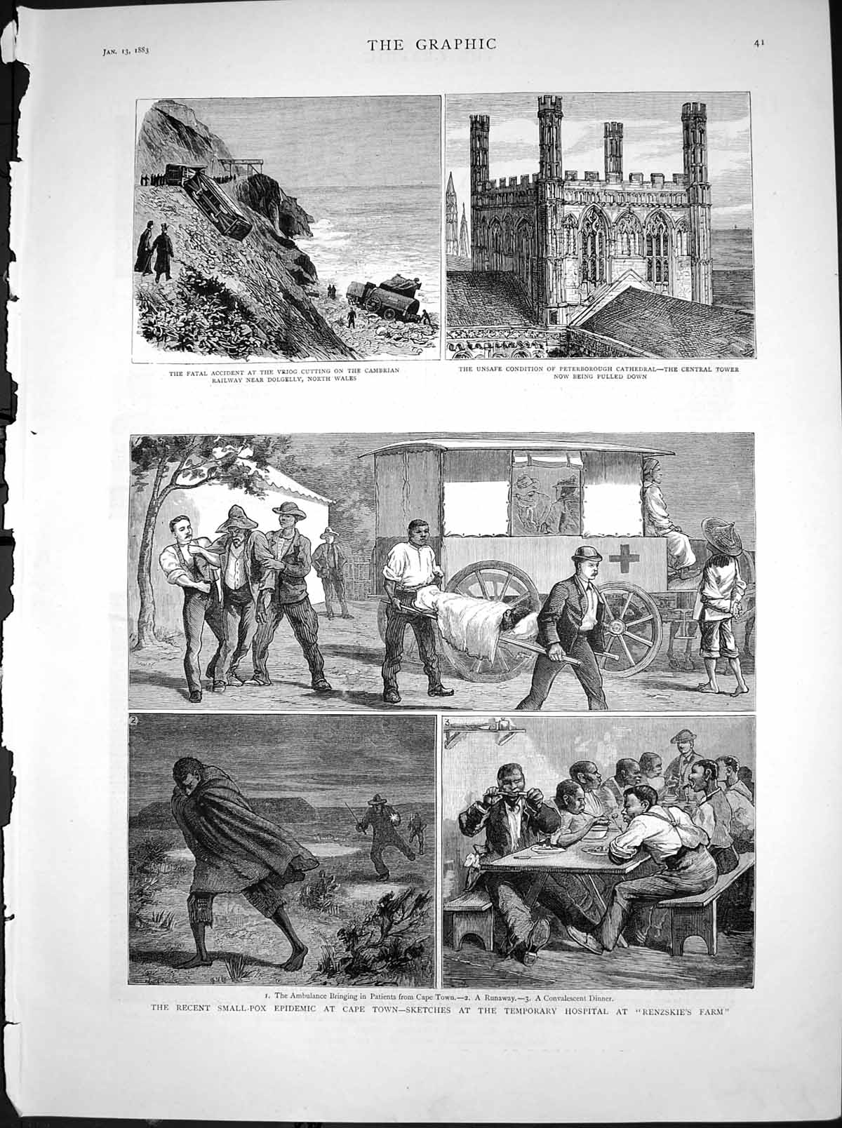[Print Small Pox Epidemic Cape Town Temporary Hospital Farm 1883 895T116 Old Original]