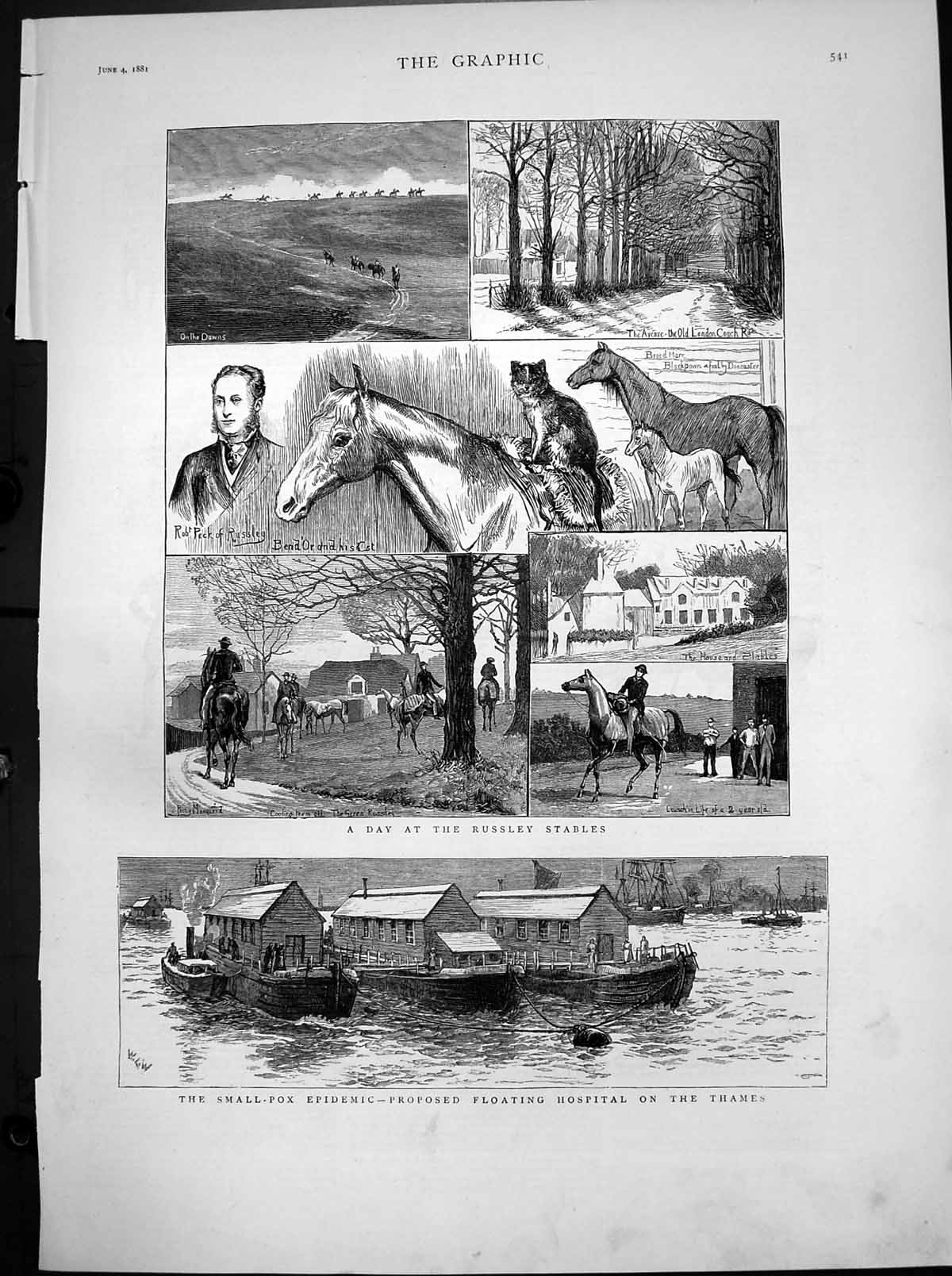 [Print Russley Stables Small Pox Epidemic Floating Hospital Thames 1881 929T116 Old Original]