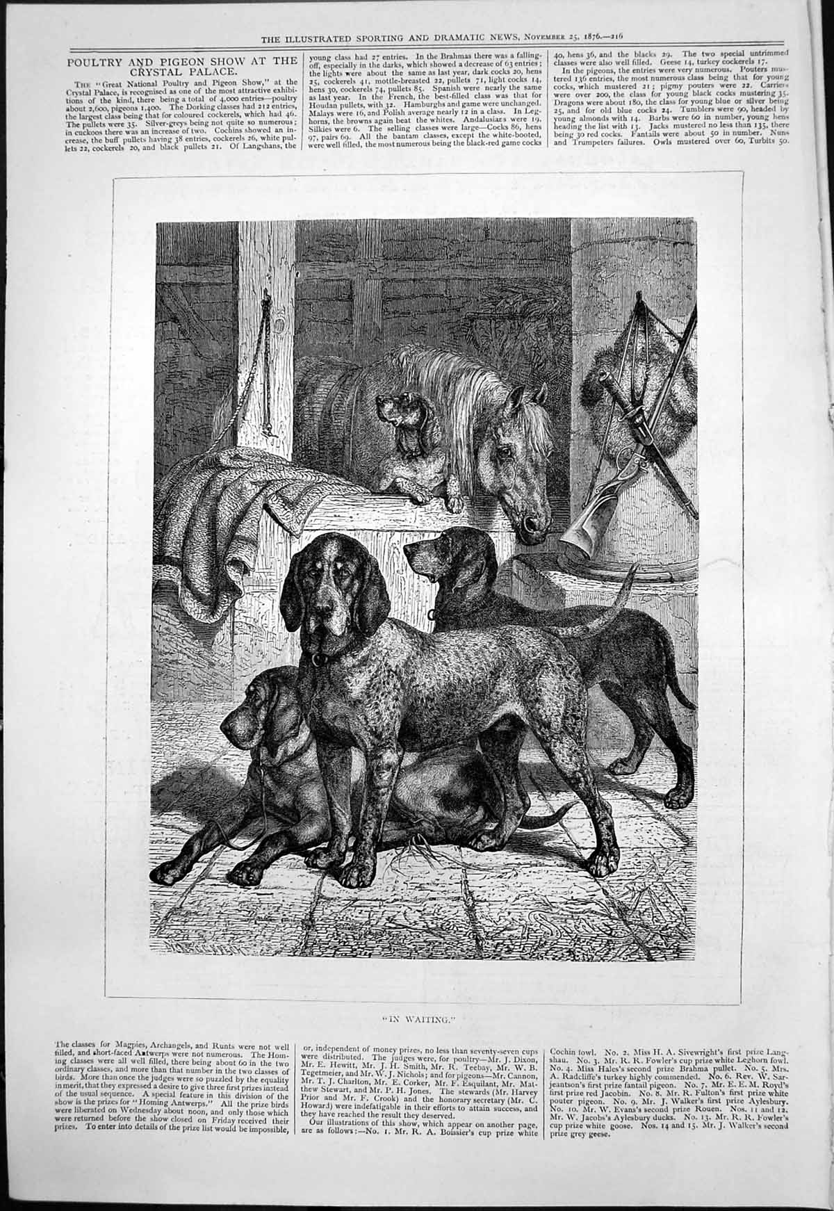 [Print In Waiting G Spech Dogs Waiting Go Hunting Horse Stable 1876 123T118 Old Original]