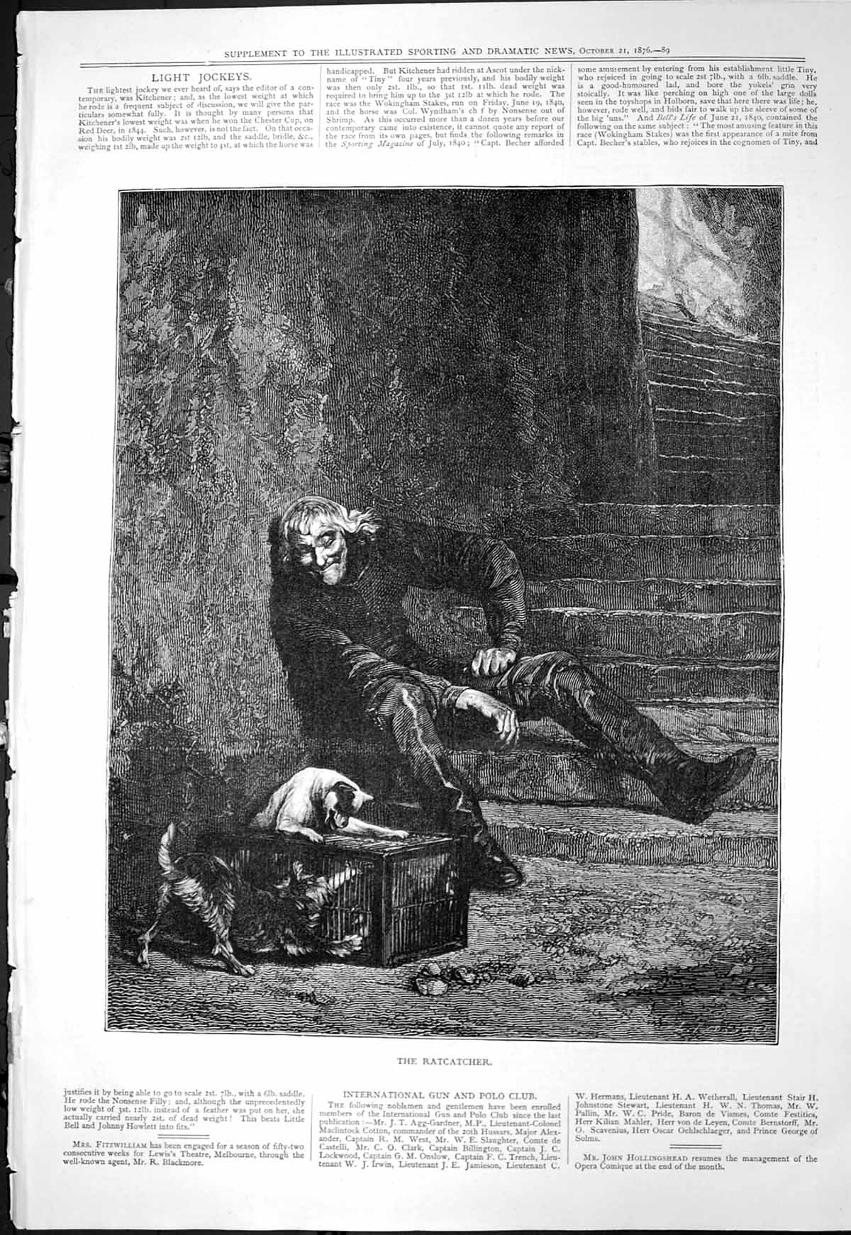 [Print Ratcatcher Man Steps Dogs Trying Enter Cage 1876 136T118 Old Original]