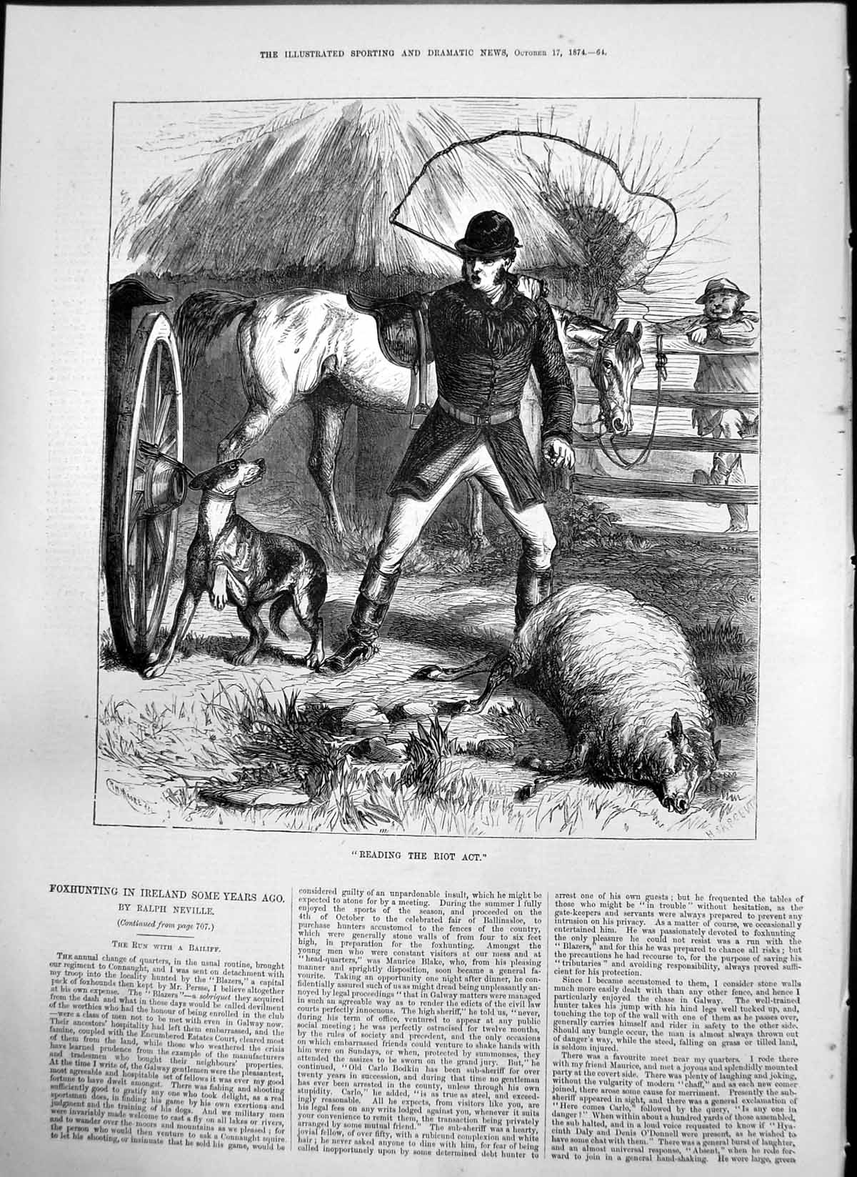 [Print Reading Riot Act R H Moore Rider Threatening Dog Injured Sheep 18 064T122 Old Original]