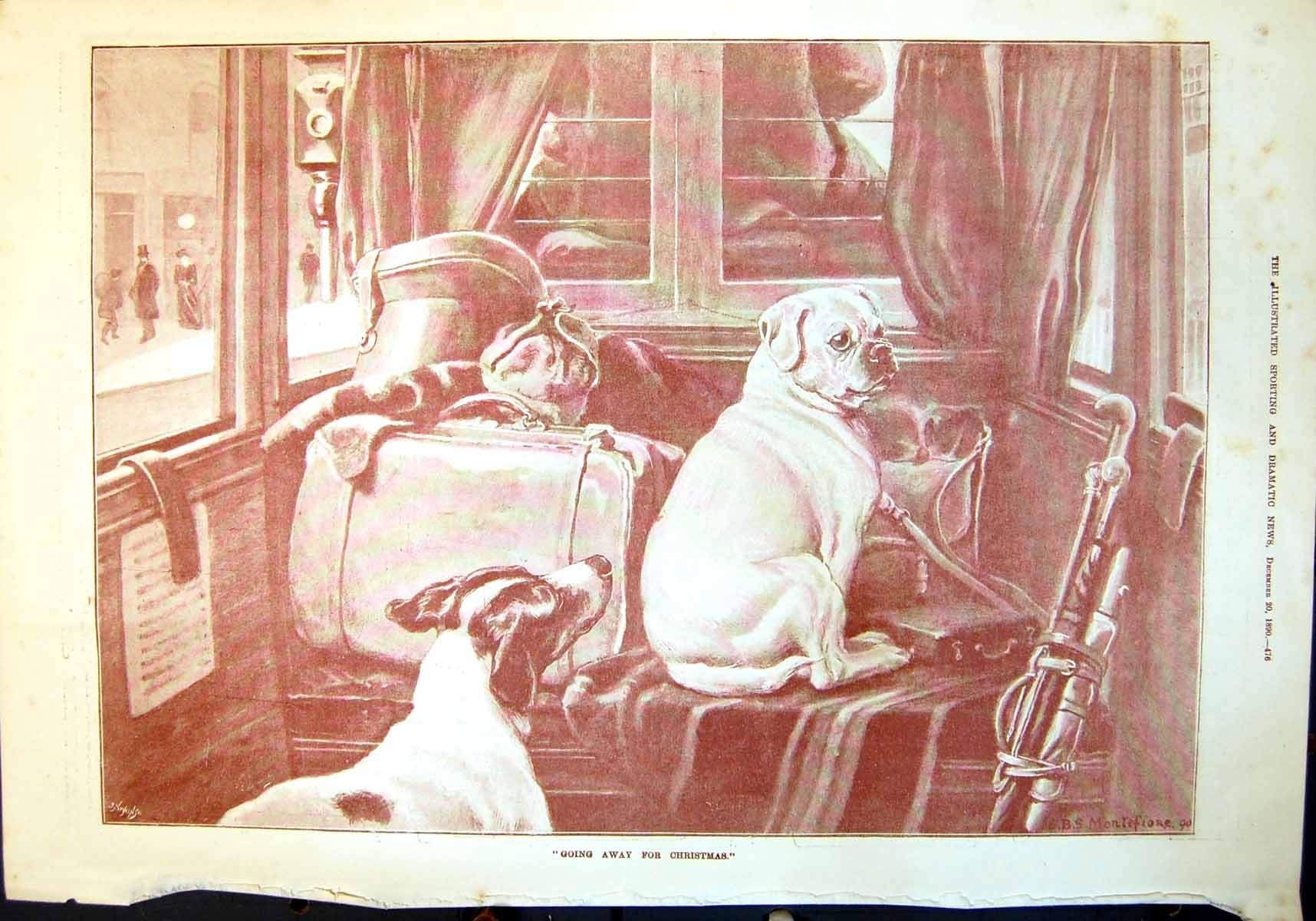 [Print Going Away For Christmas Dogs Luggage Golf Clubs 1890 476T134 Old Original]