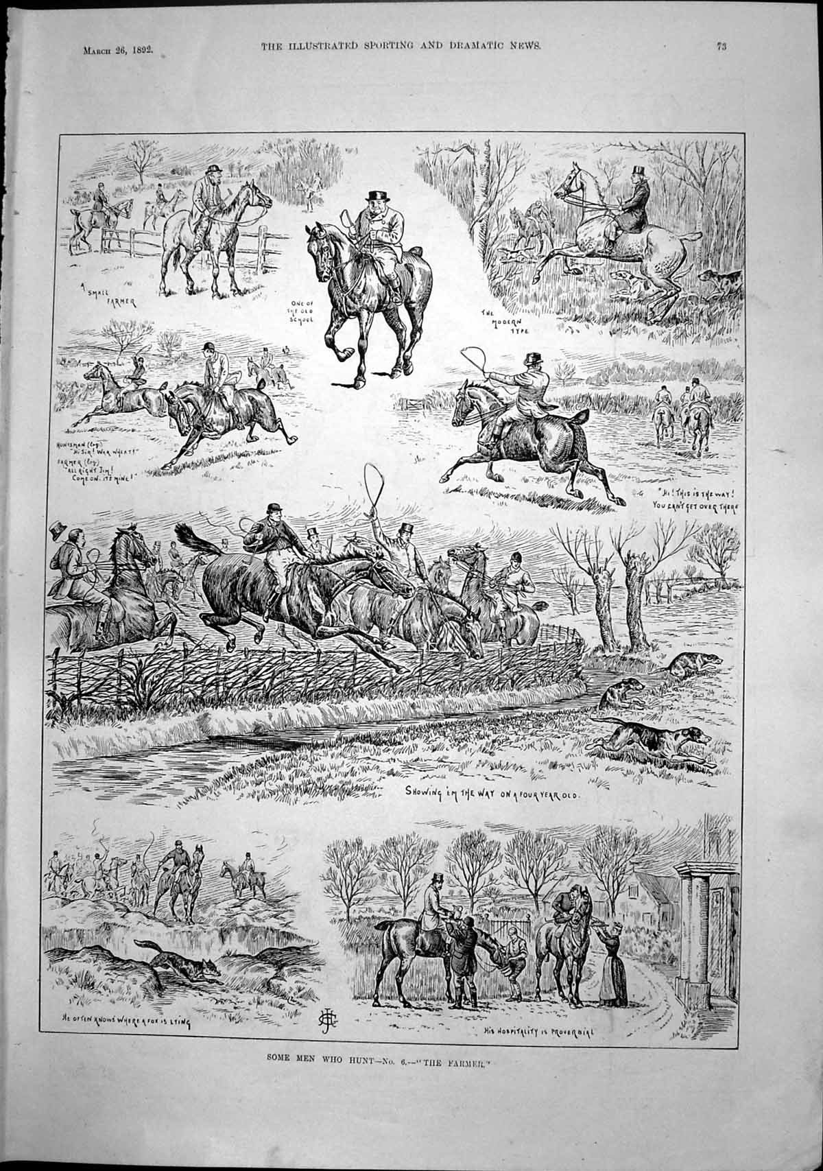 [Print Some Men Who Hunt Farmer Showing Way Fox Lying Hospitality 1892 073T137 Old Original]