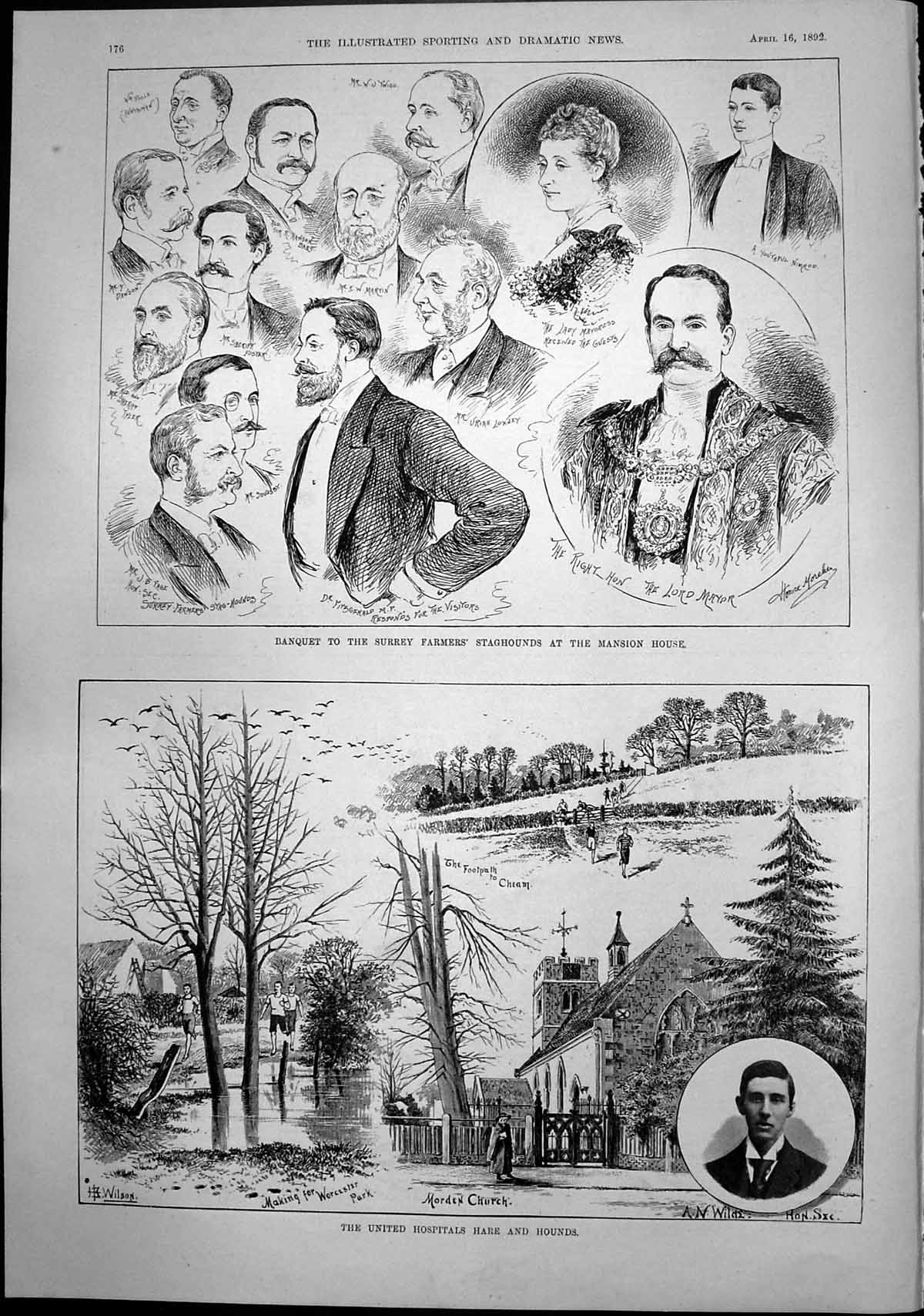 [Print Hospitals Hare Hounds Banquet Surrey Farmers Staghounds 1892 176T137 Old Original]