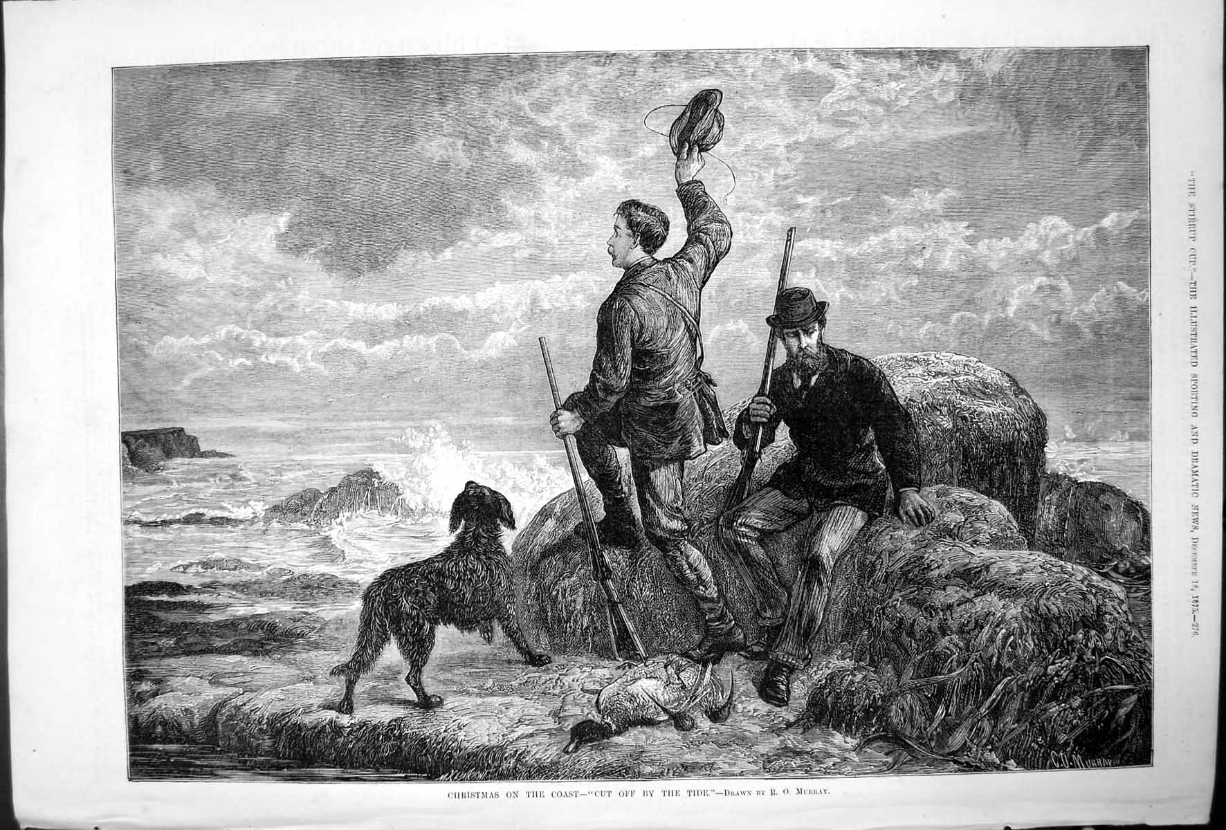 [Print Christmas On Coast Cut Off By Tide R O Murray Two Men Dog 1875 127T140 Old Original]