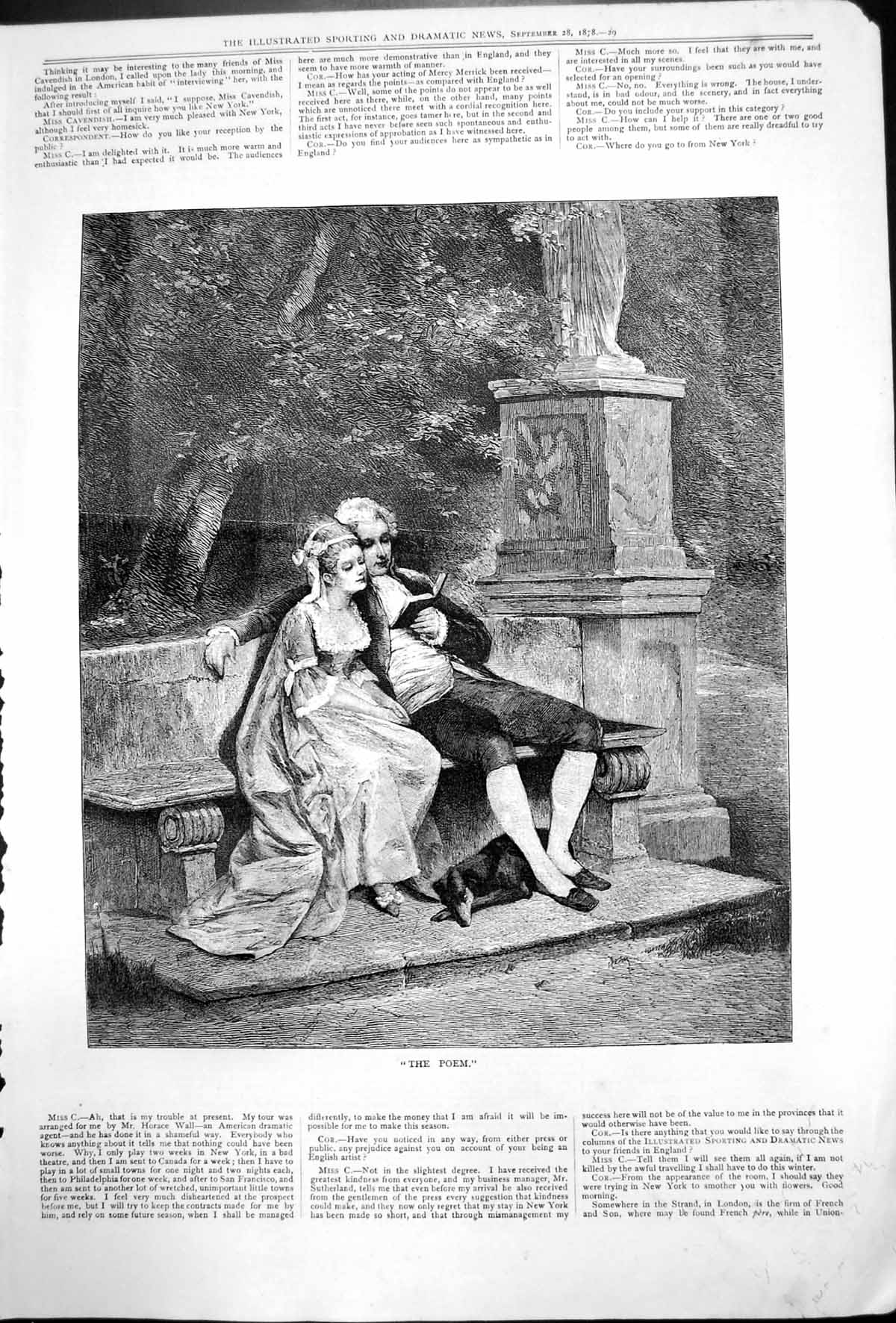 [Print Poem Two Lovers Bench Statue Dog Reading Book Gardens 1878 275T140 Old Original]