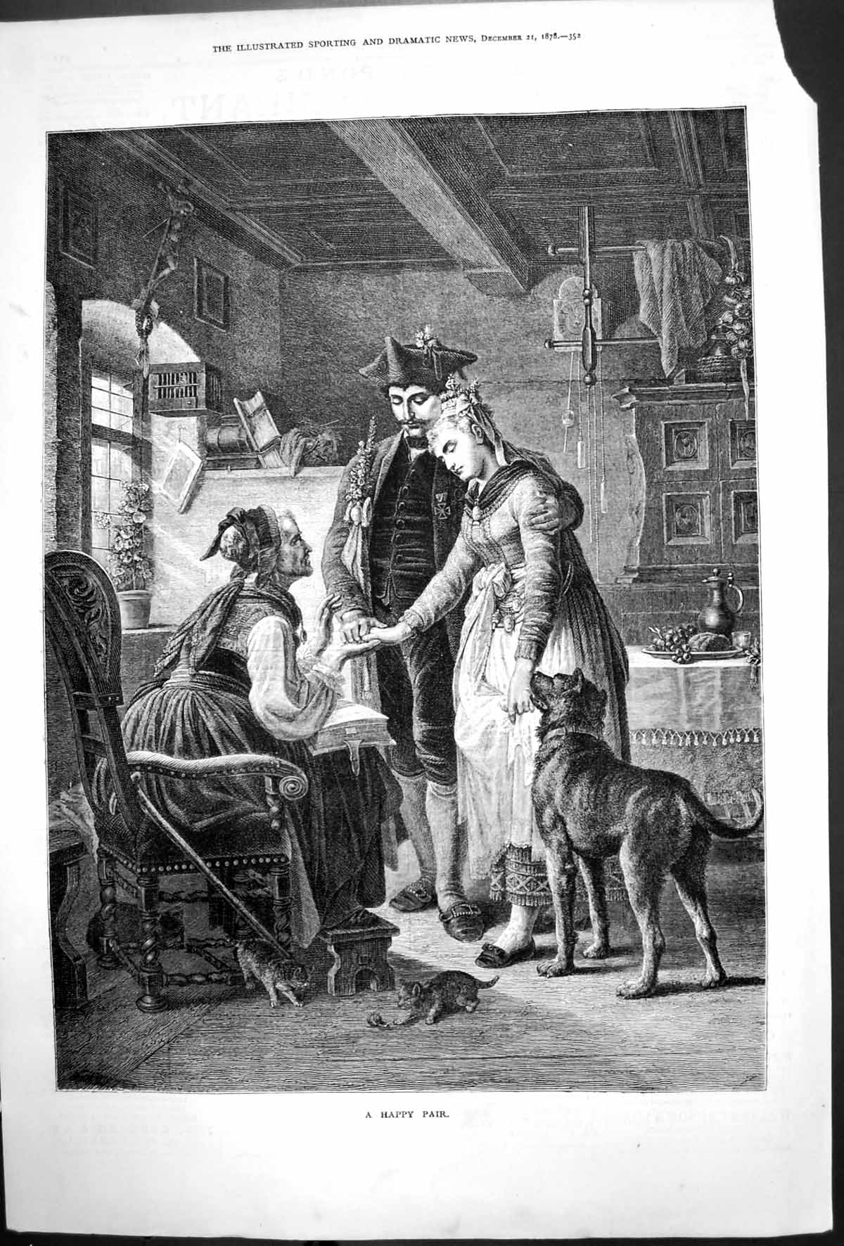 [Print Happy Pair Soldier Introducing Lady Woman Dog Kittens 1878 315T140 Old Original]
