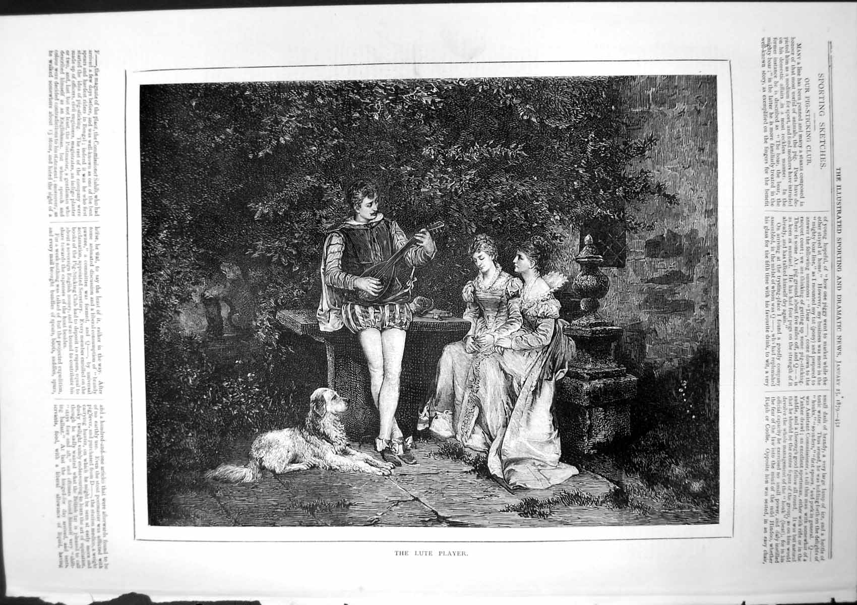[Print Lute Player In Garden Two Ladies Bench Listening Dog 1879 404T141 Old Original]