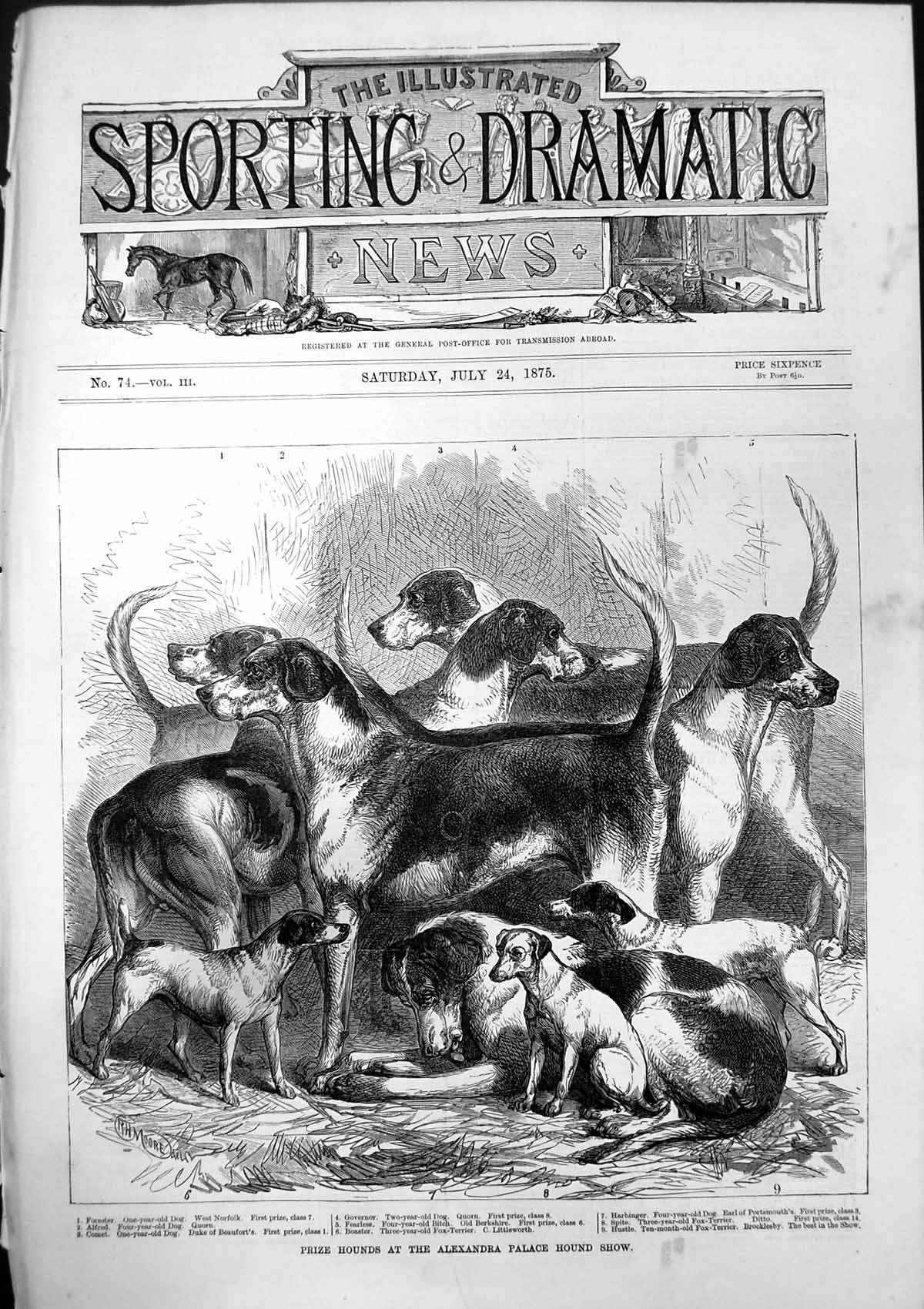 [Print Prize Hounds Alexandra Palace Hound Show Fox Terrier 1875 475T141 Old Original]