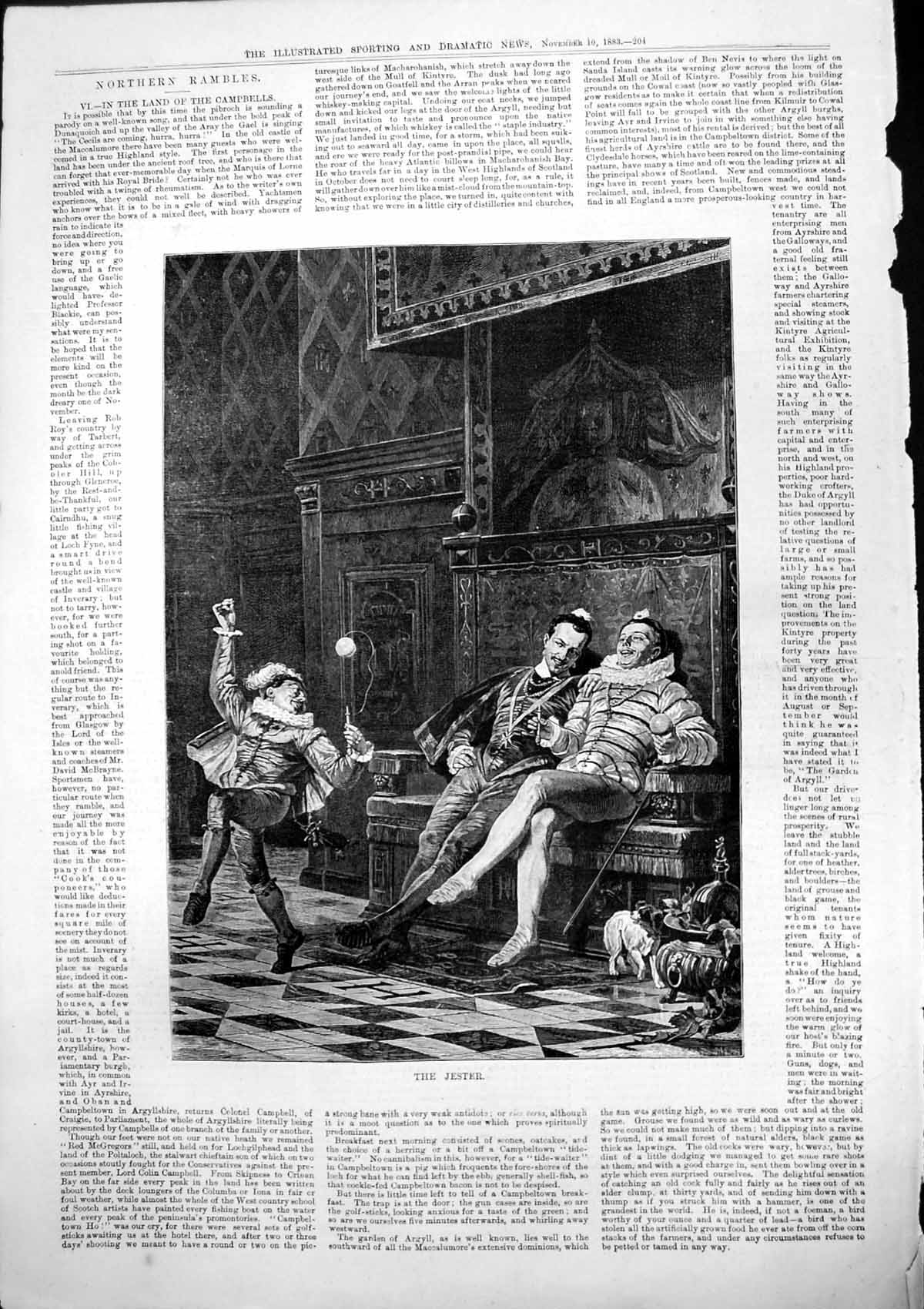 [Print Jester Playing Ball Two Men Sitting Seat Stately Home Dog 1883 517T141 Old Original]
