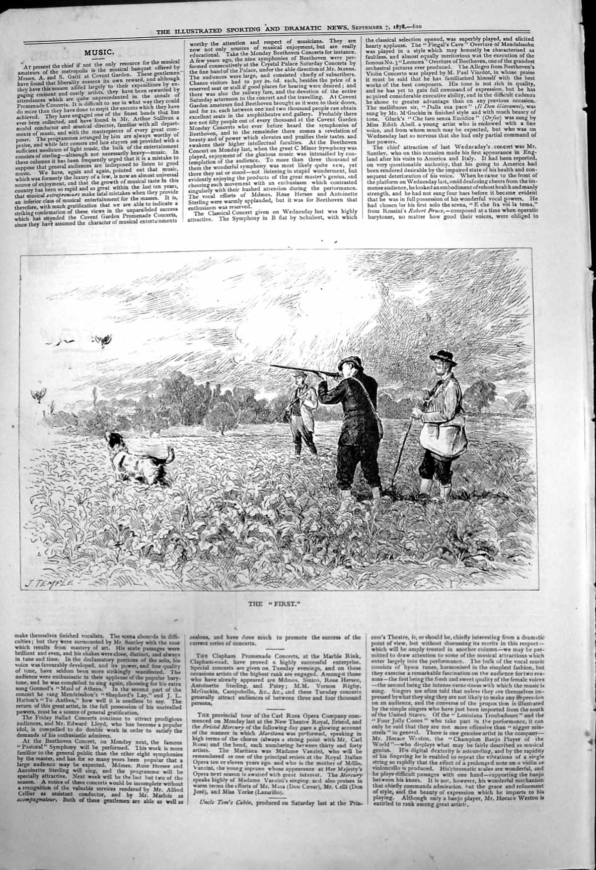 [Print First J Temple Grouse Shooters First Shot Guns Dog 1878 206T142 Old Original]