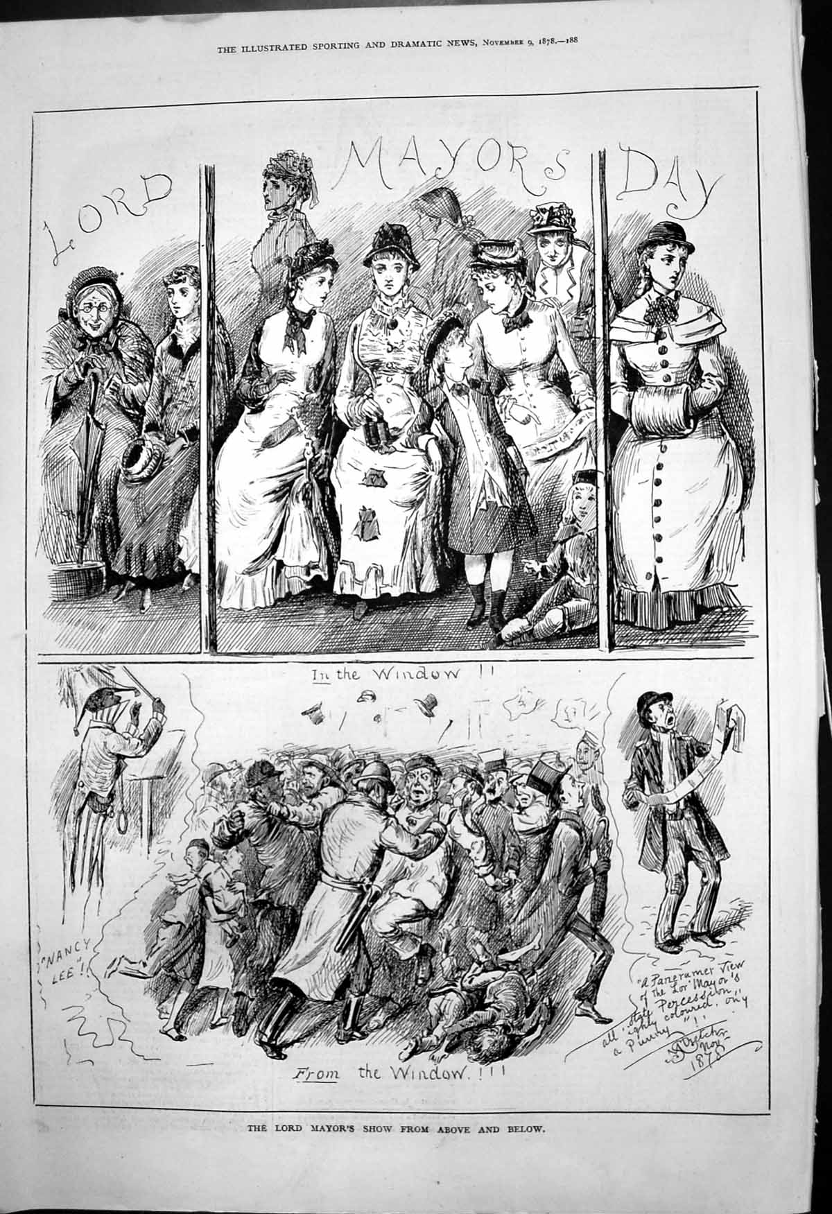 [Print Lord Mayors Show In Window From Window A Stretch Nancy Lee 1878 224T142 Old Original]