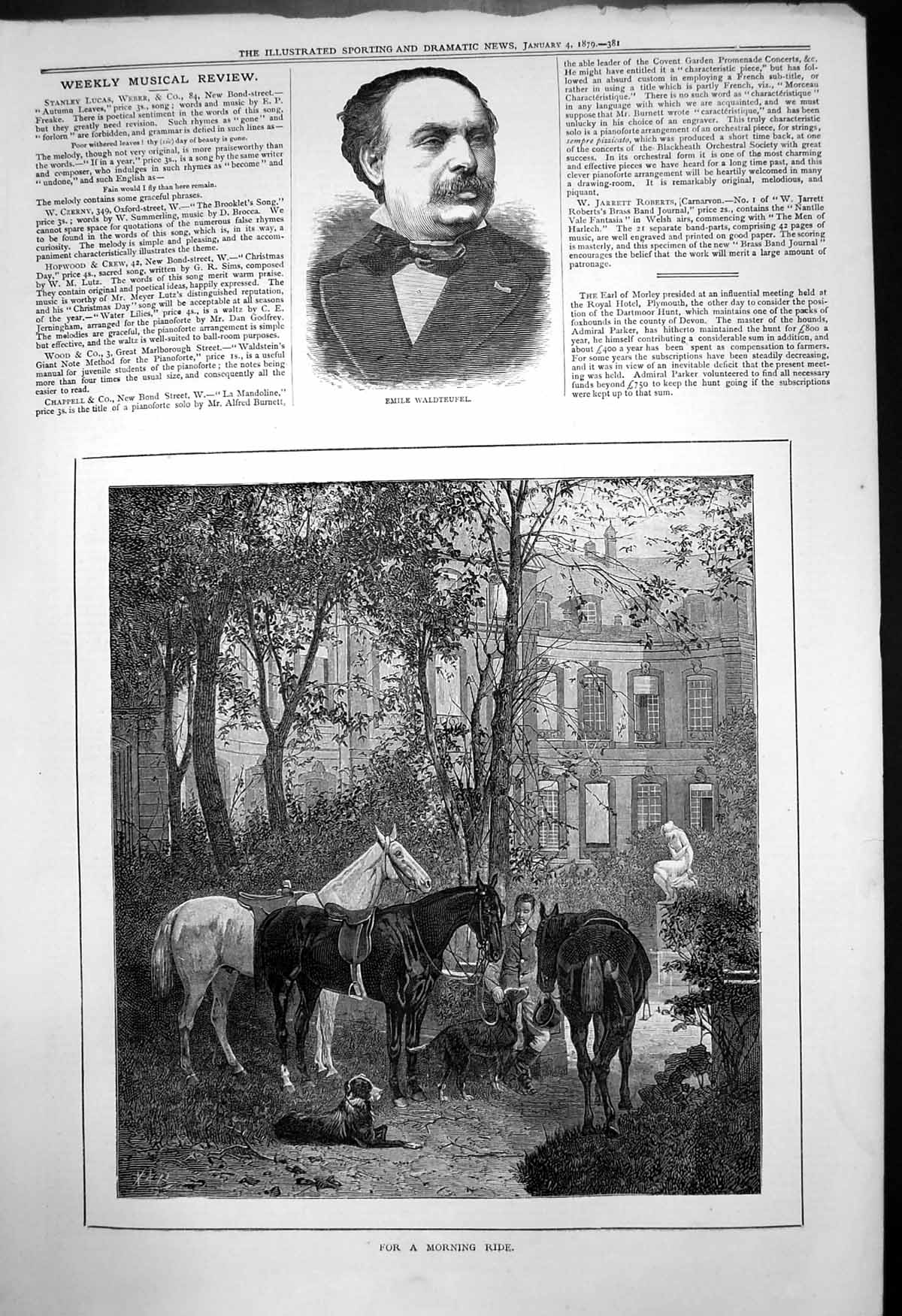 [Print Emile Waldteufel For A Morning Ride Horses Dogs Rider 1879 245T142 Old Original]