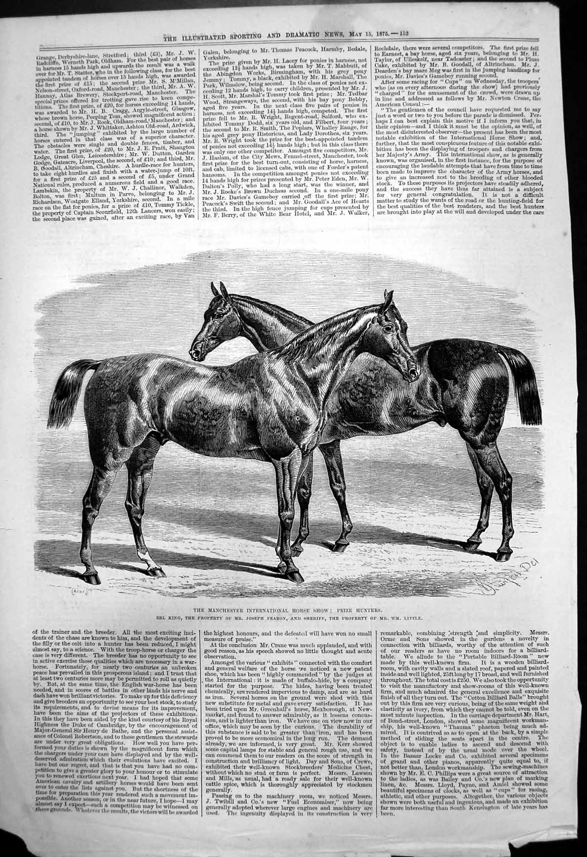 [Print Manchester Horse Show Prize Hunters Erl King Fearon Sheriff 1875 291T142 Old Original]