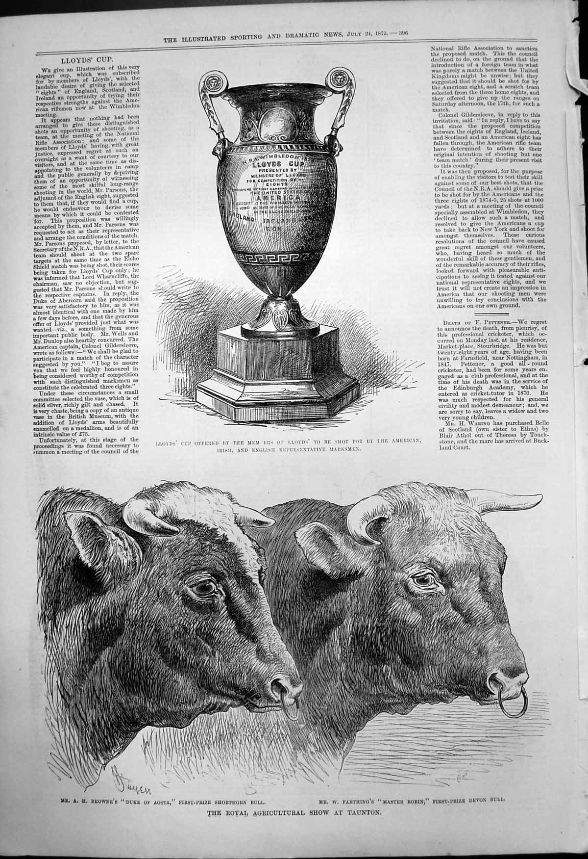 [Print Royal Agricultural Show Taunton Bulls Lloyds Cup Shooting 1875 306T142 Old Original]
