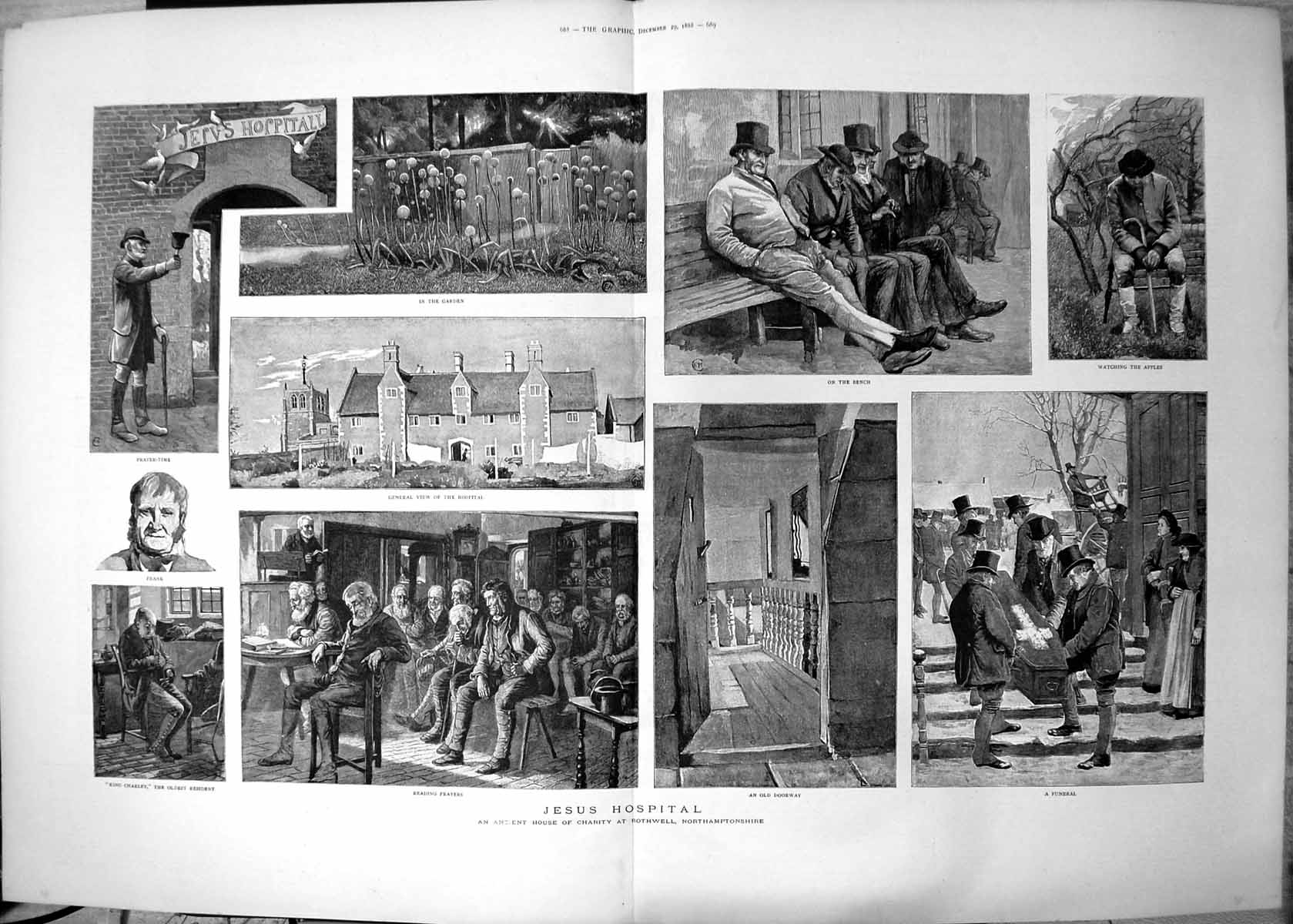 [Print Jesus Hospital Ancient House Charity Northamptonshire Funeral 188 262T144 Old Original]