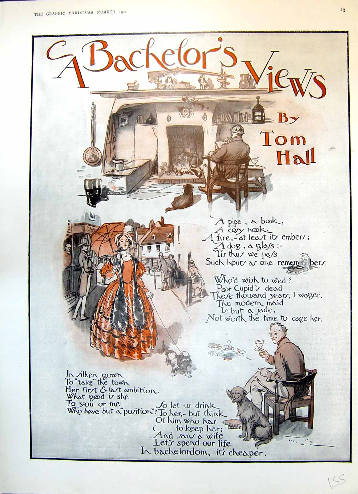 [Print Bachelor'S Views Tom Hall Pipe Book Fireplace Lady Dogs 1911 155T145 Old Original]