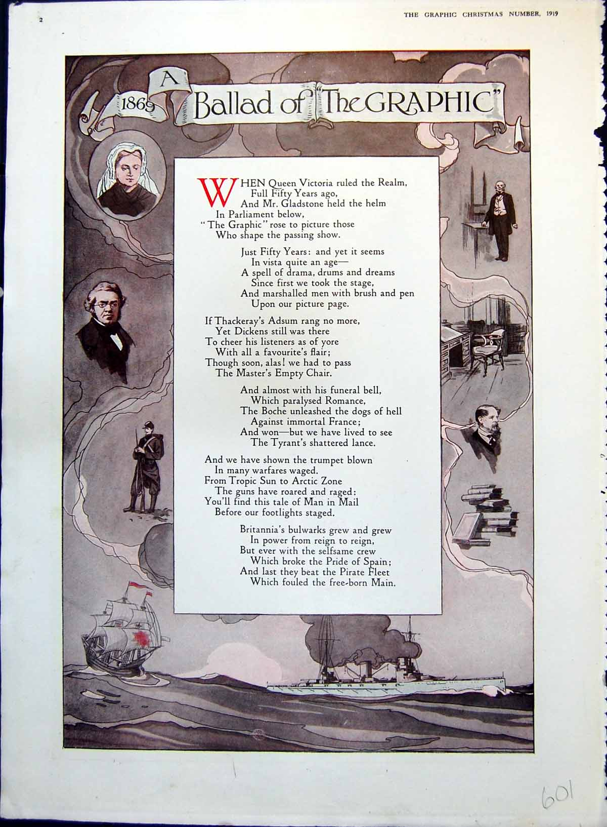 [Print Ballad Graphic Over Fifty Years Changes Ships Kings Queens 1919 601T146 Old Original]