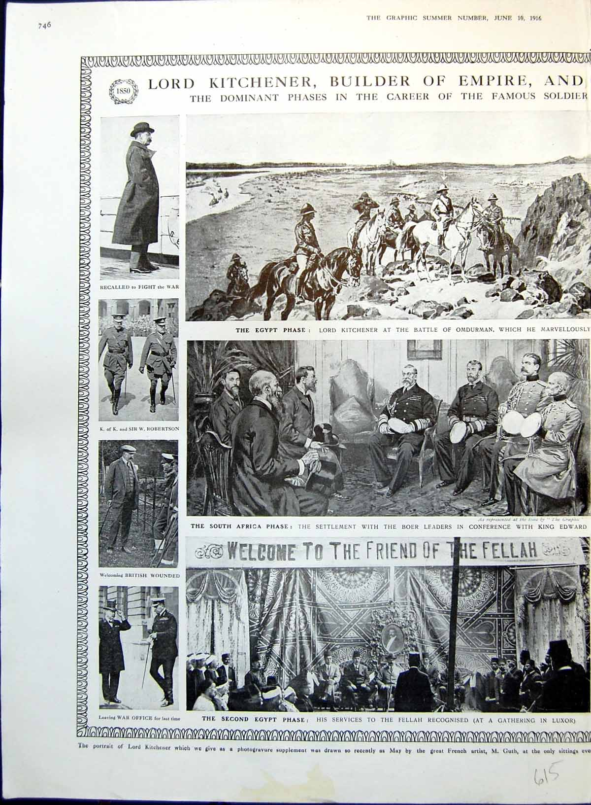 [Print Lord Kitchener Dominant Phases Life Career Egypt S Africa 1916 615T146 Old Original]