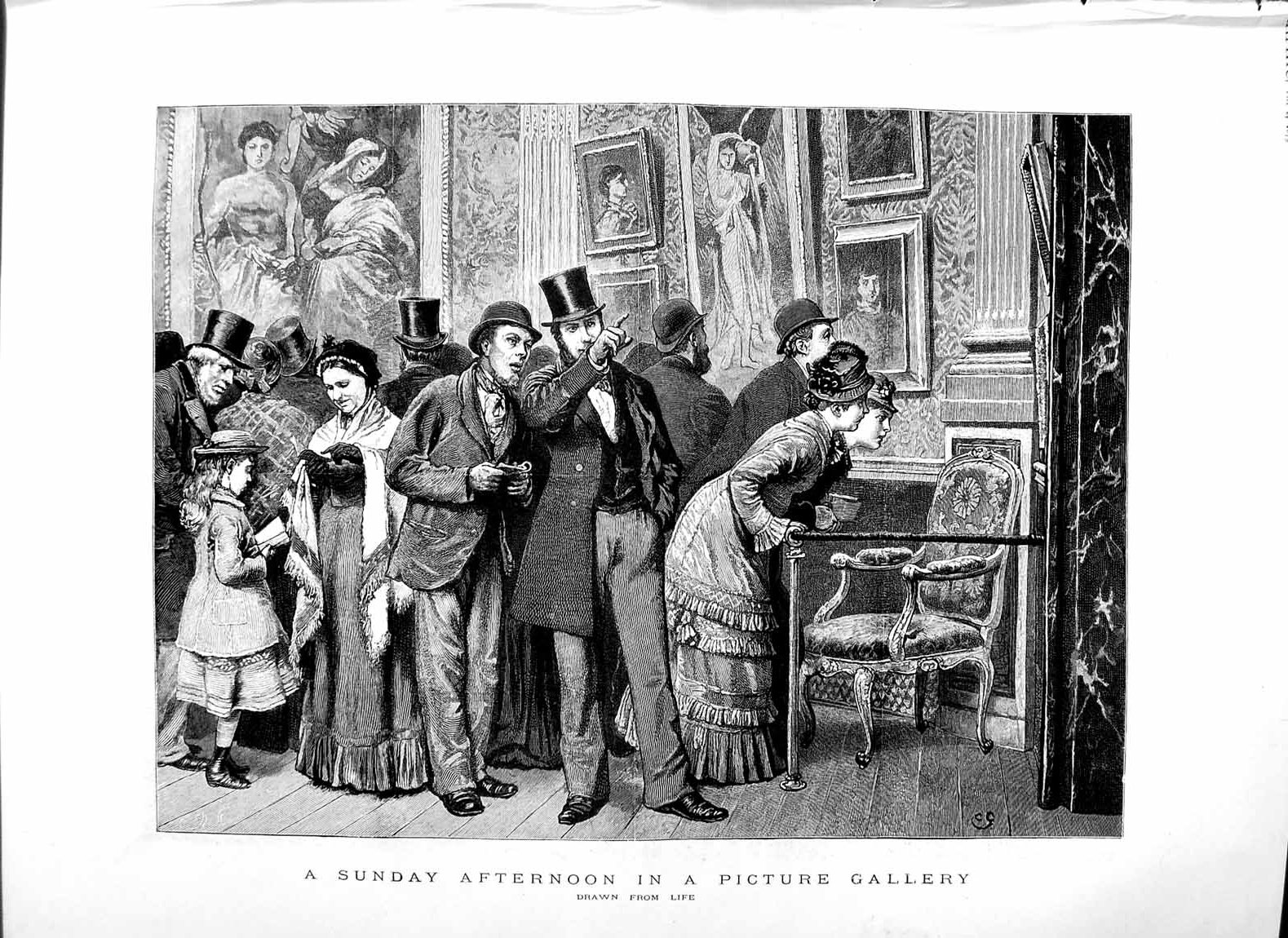 [Print 1879 Picture Gallery Art Paintings Picture 146M119 Old Original]