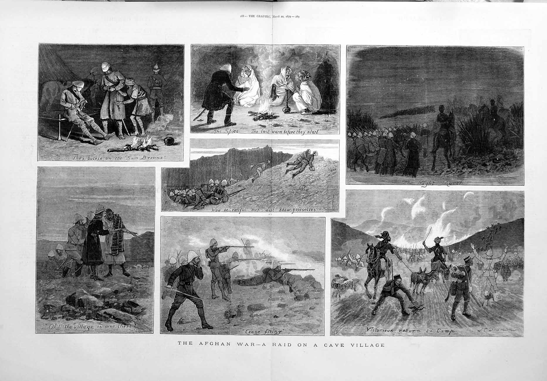 [Print 1879 Afghan War Raid Cave Village Soldiers Fine Art 287Tm119 Old Original]
