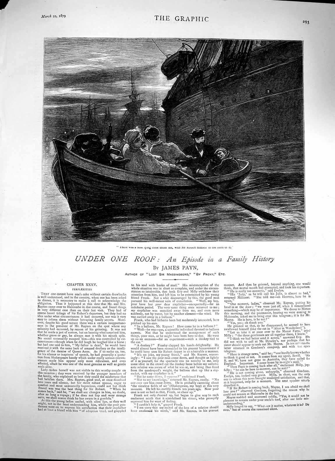 [Print 1879 James Payn Illustration Story Rescue Boat Ship 293M119 Old Original]