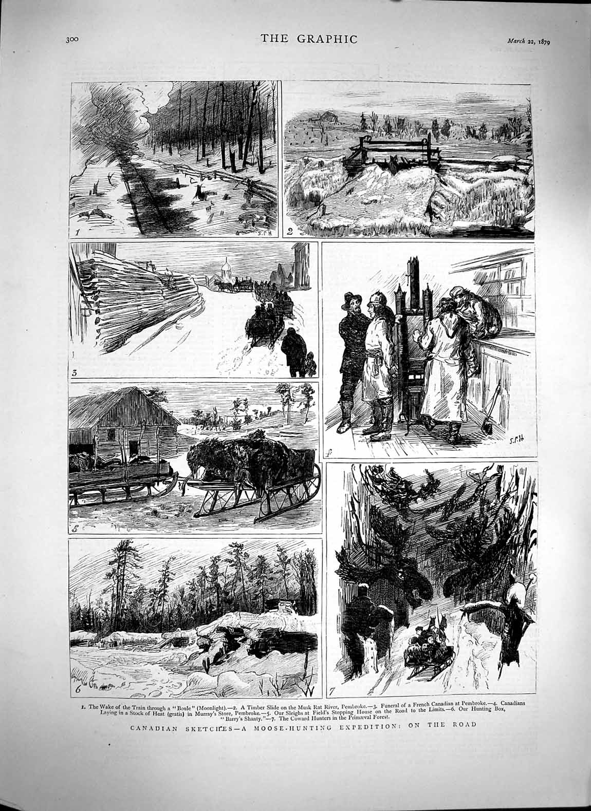 [Print 1879 Canada Moose Hunting Train Pembroke Musk Rat River 300M119 Old Original]