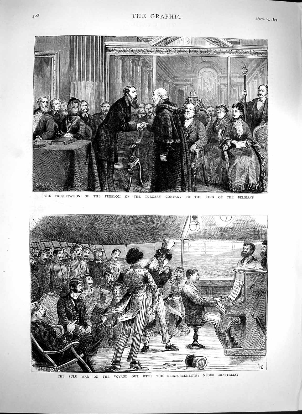[Print 1879 Zulu War Negros Ship King Belgians Freedom Turners 308M119 Old Original]