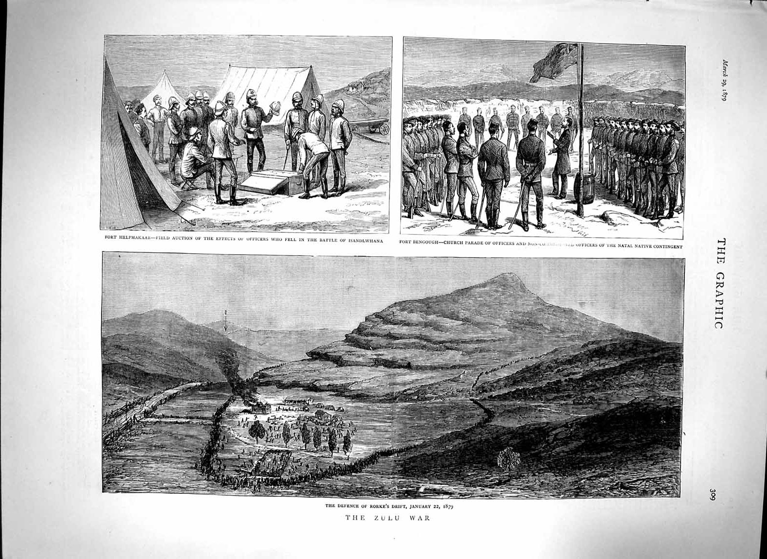 [Print *3058 1879 Zulu War Rorke'S Drift Fort Helpmakaar Bengough 309M119 Old Original]