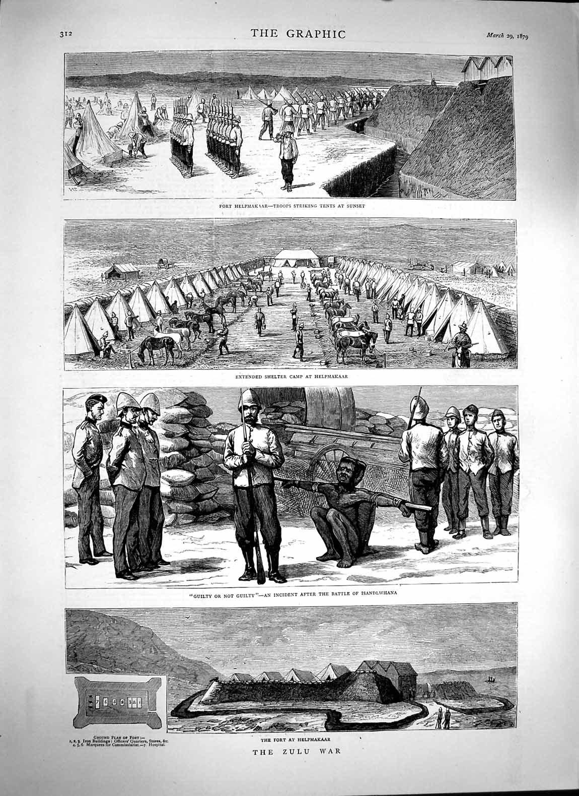 [Print 1879 Zulu War Fort Helpmakaar Isandlwhana Helpmakaar 312M119 Old Original]