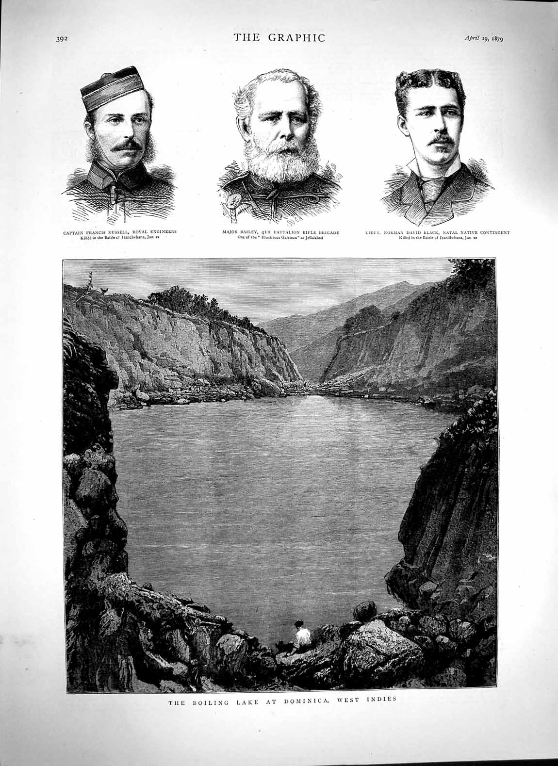 Print 1879 Boiling Lake Dominica Indies Russell Bailey Black Old Original