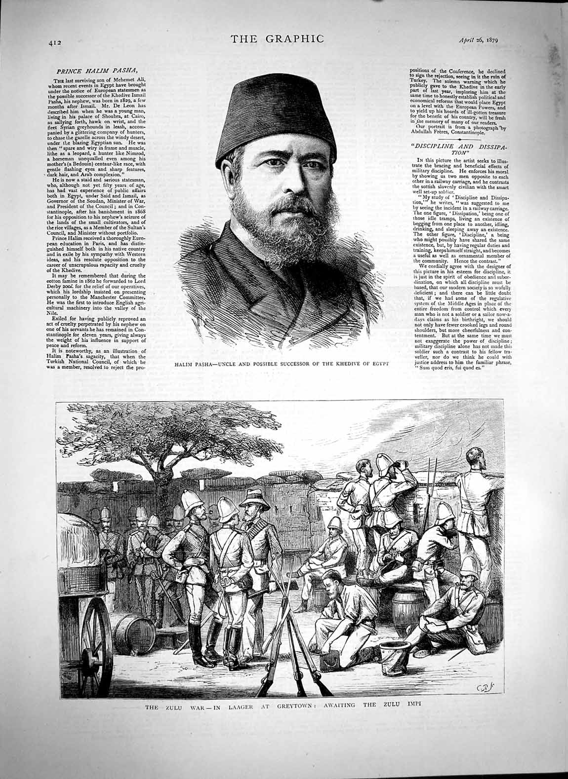 Print 1879 Zulu War Laager Greytown Impi Halim Pasha Egypt  Old Original