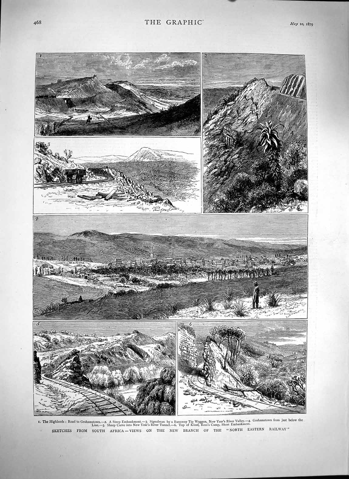 [Print 1879 Africa Railway Kloof Camp Grahamstown Waggon 468M119 Old Original]