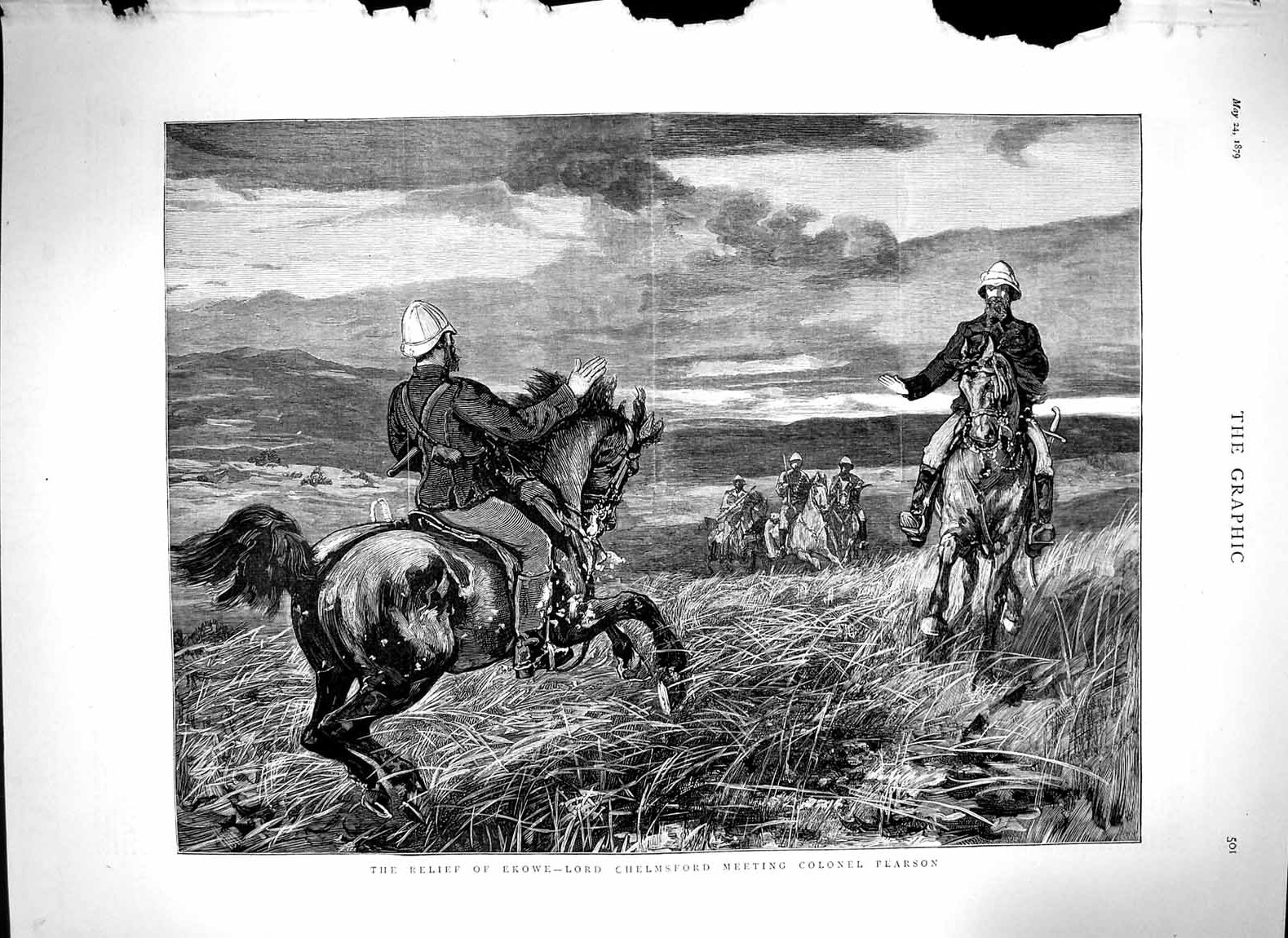 [Print 1879 Ekowe Lord Chelmsford Colonel Pearson War Horses 501M119 Old Original]