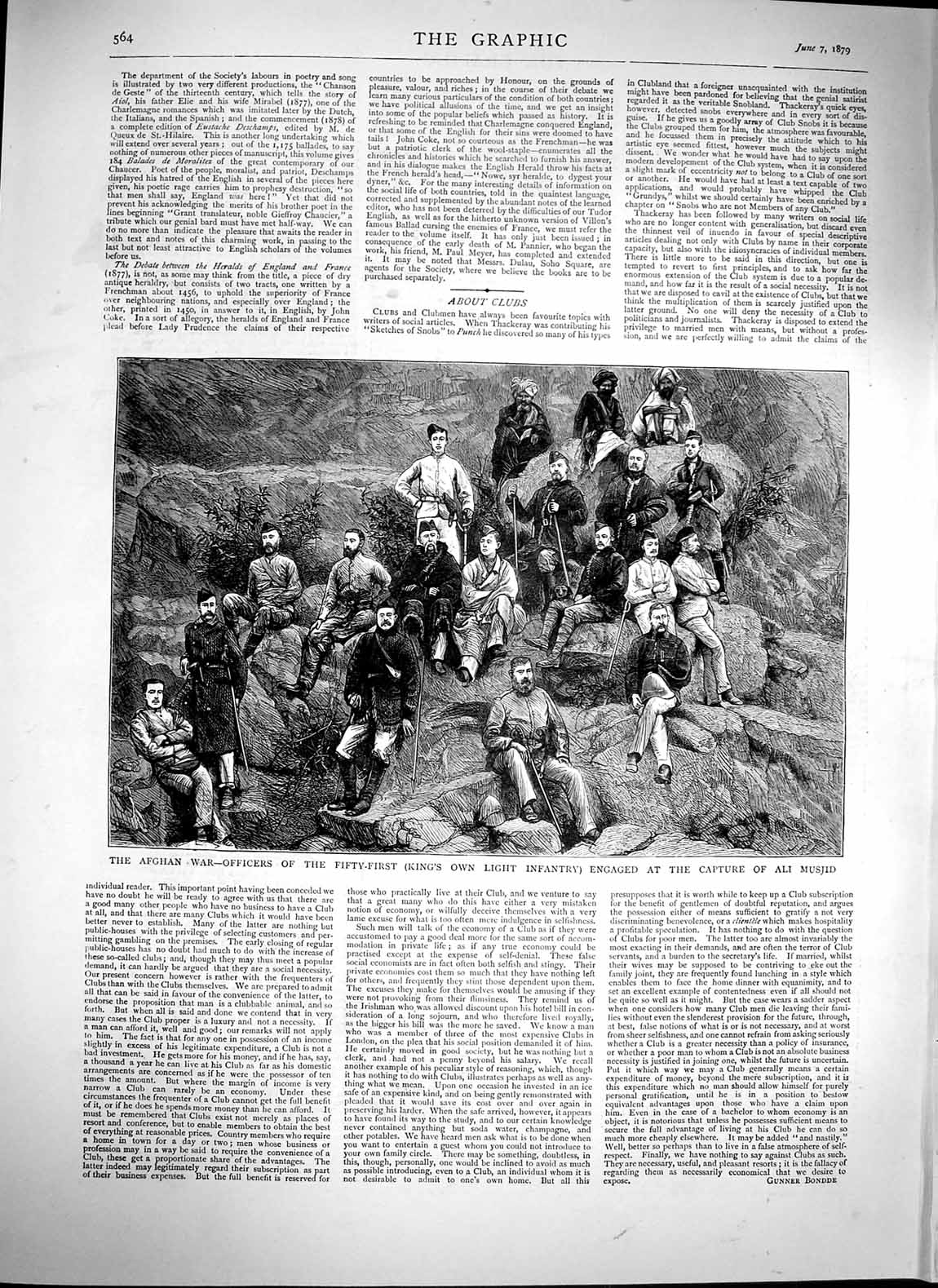 Print 1879 Afghan War Officers Capture Ali Musjid Infantry  Old Original