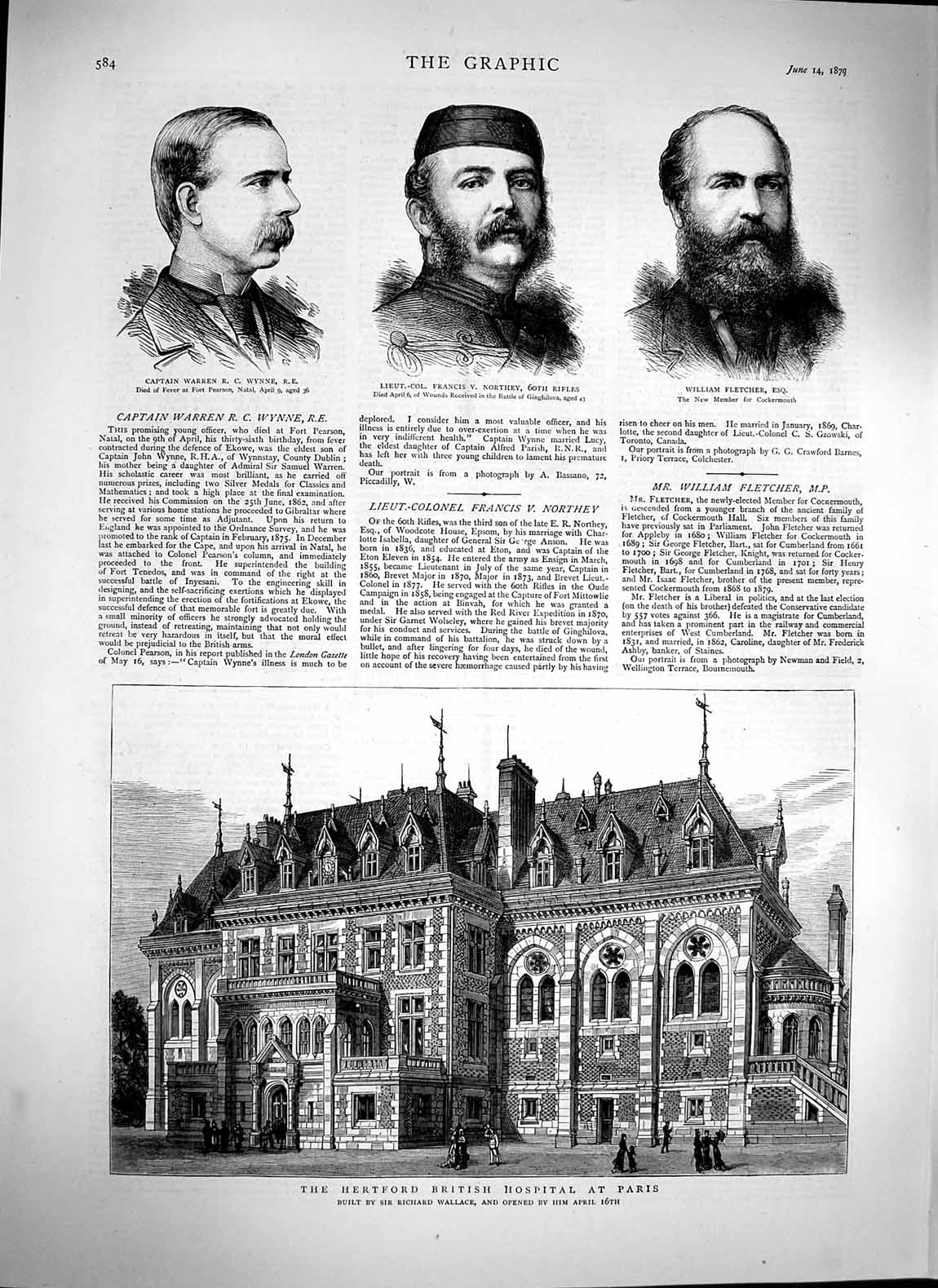 [Print 1879 Hertford Hospital Paris Wallace Wynne Northey War 584M119 Old Original]