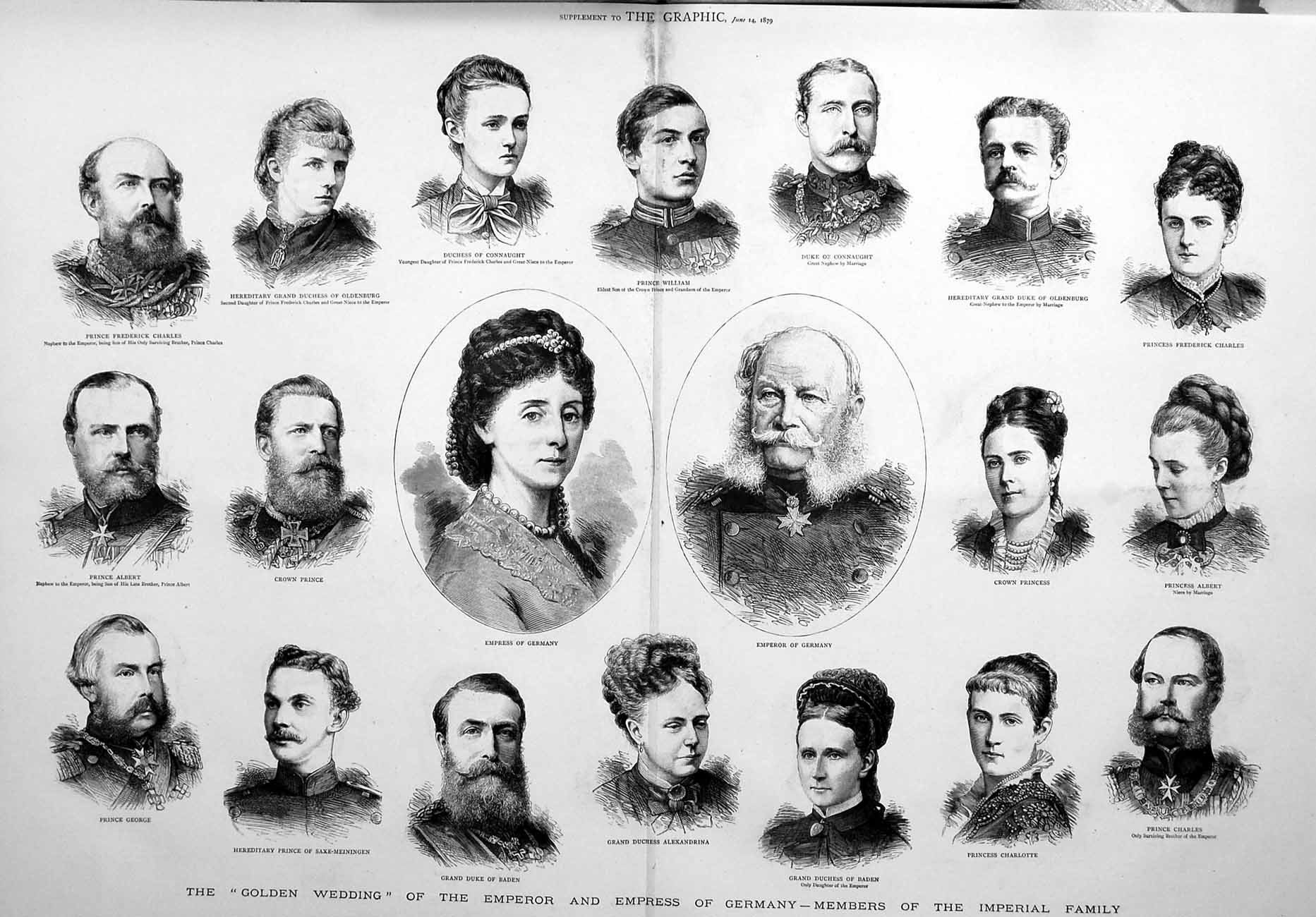 [Print 1879 Emperor Germany Connuaght Prince Imperial Family 592Tm119 Old Original]