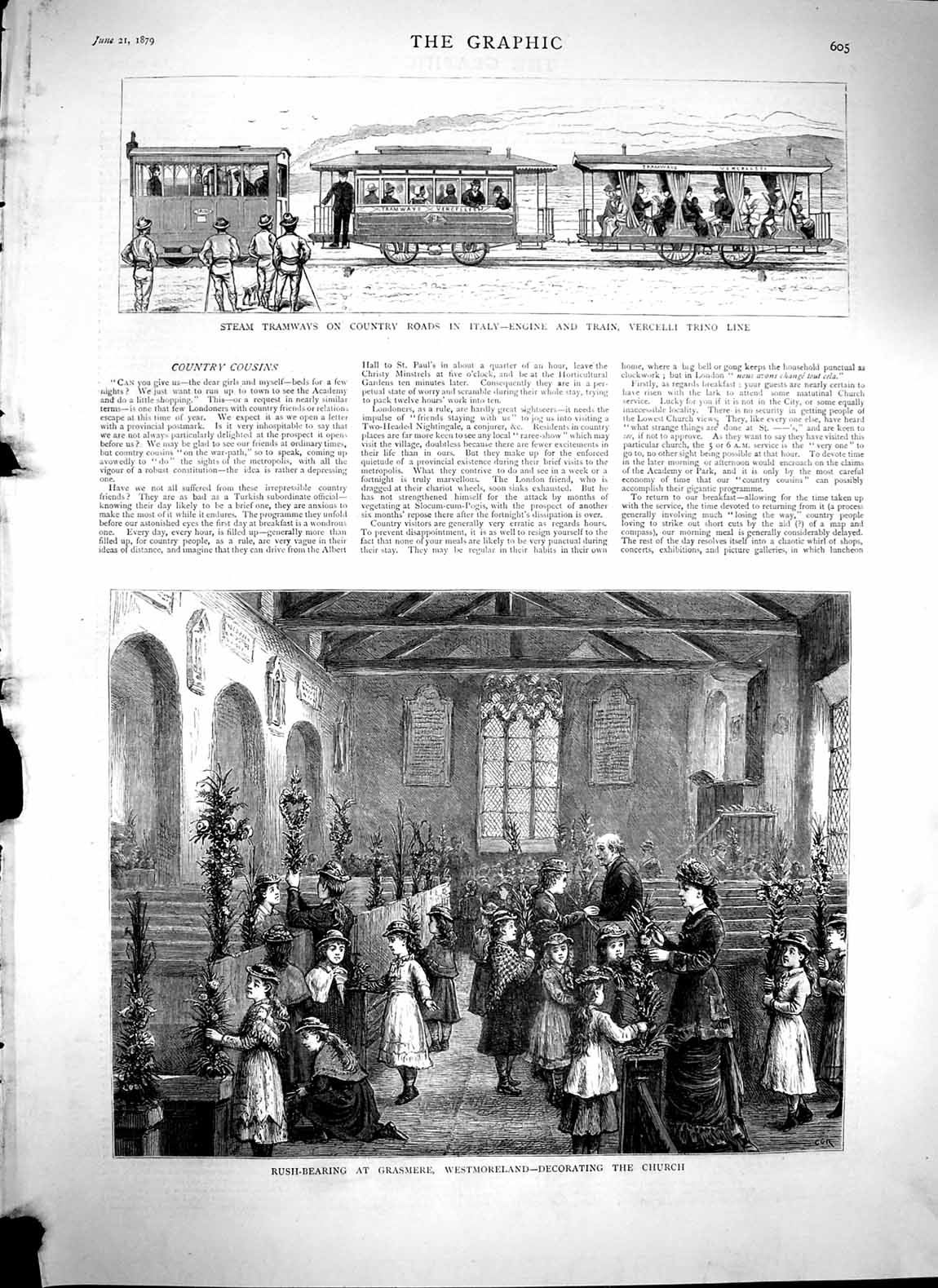 Print 1879 Train Vercelli Trino Italy Grasmere Westmoreland  Old Original