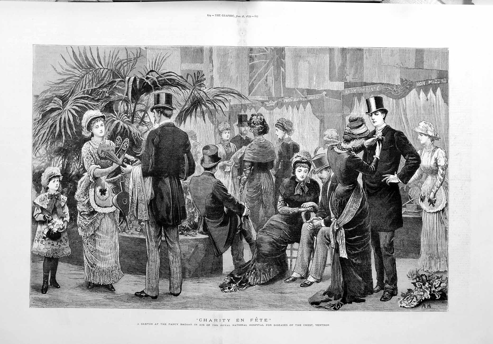 [Print 1879 Fancy Bazaar National Hospital Diseases Ventnor 623Tm119 Old Original]