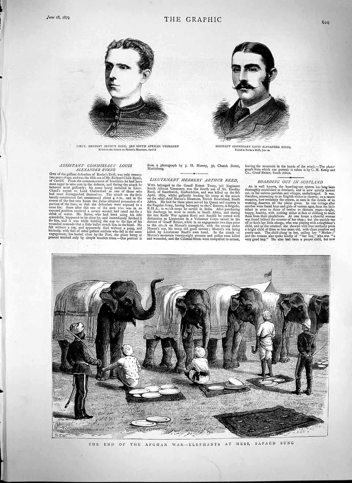[Print 1879 Afghan War Elephants Mess Safaed Sung Reed Byrne Old Original]