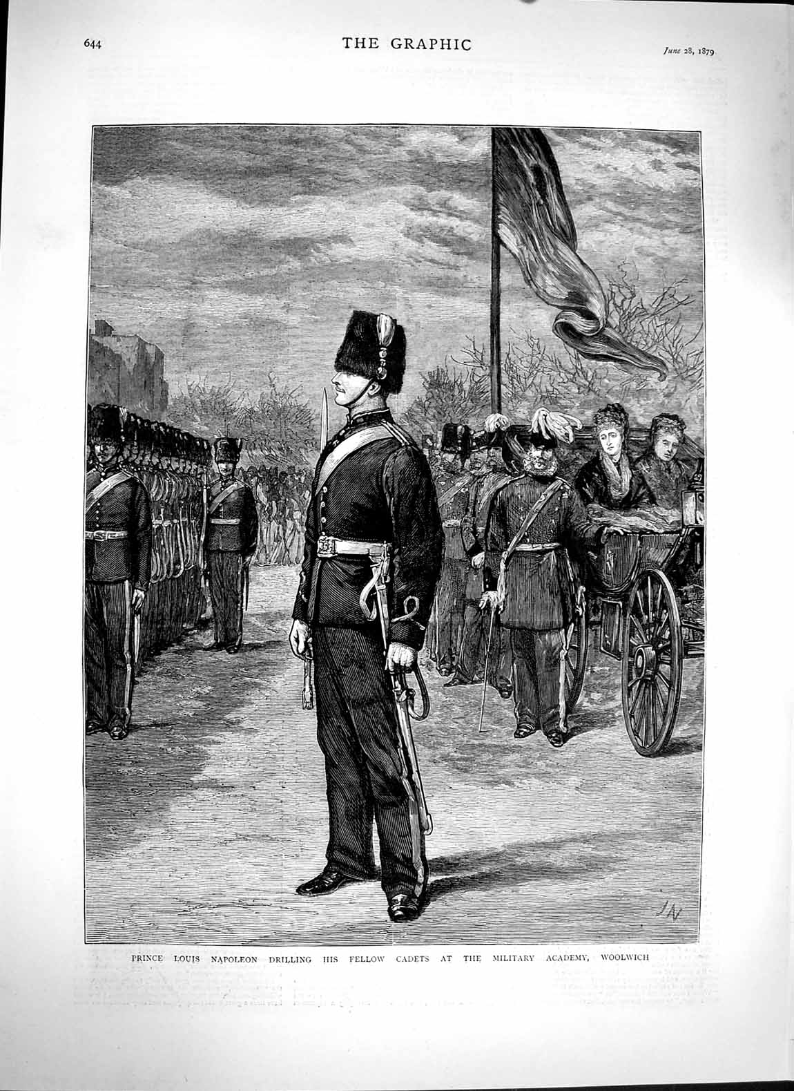 [Print 1879 Prince Louis Napoleon Cadets Woolwich Military War 644M119 Old Original]
