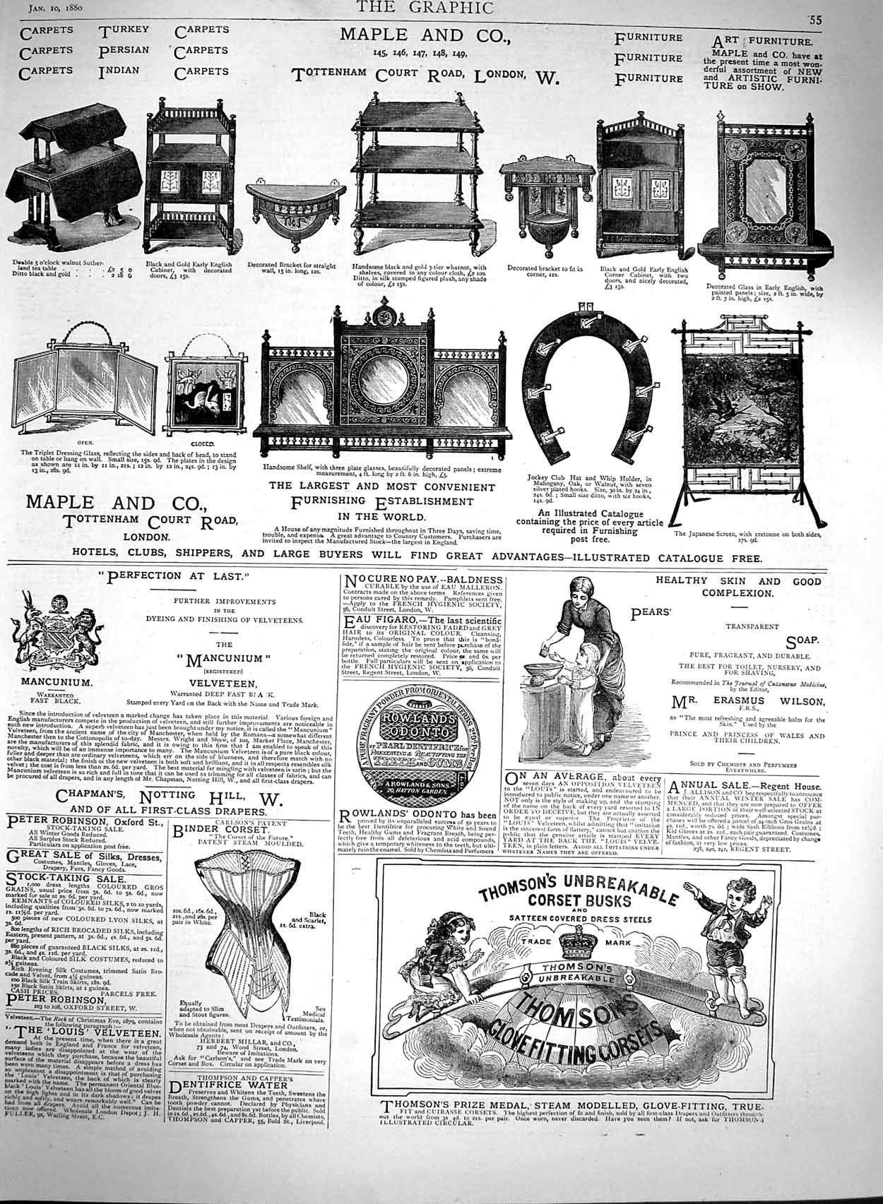 Print 1880 Advertisement Maple Furniture Corset Busks Pears  Old Original