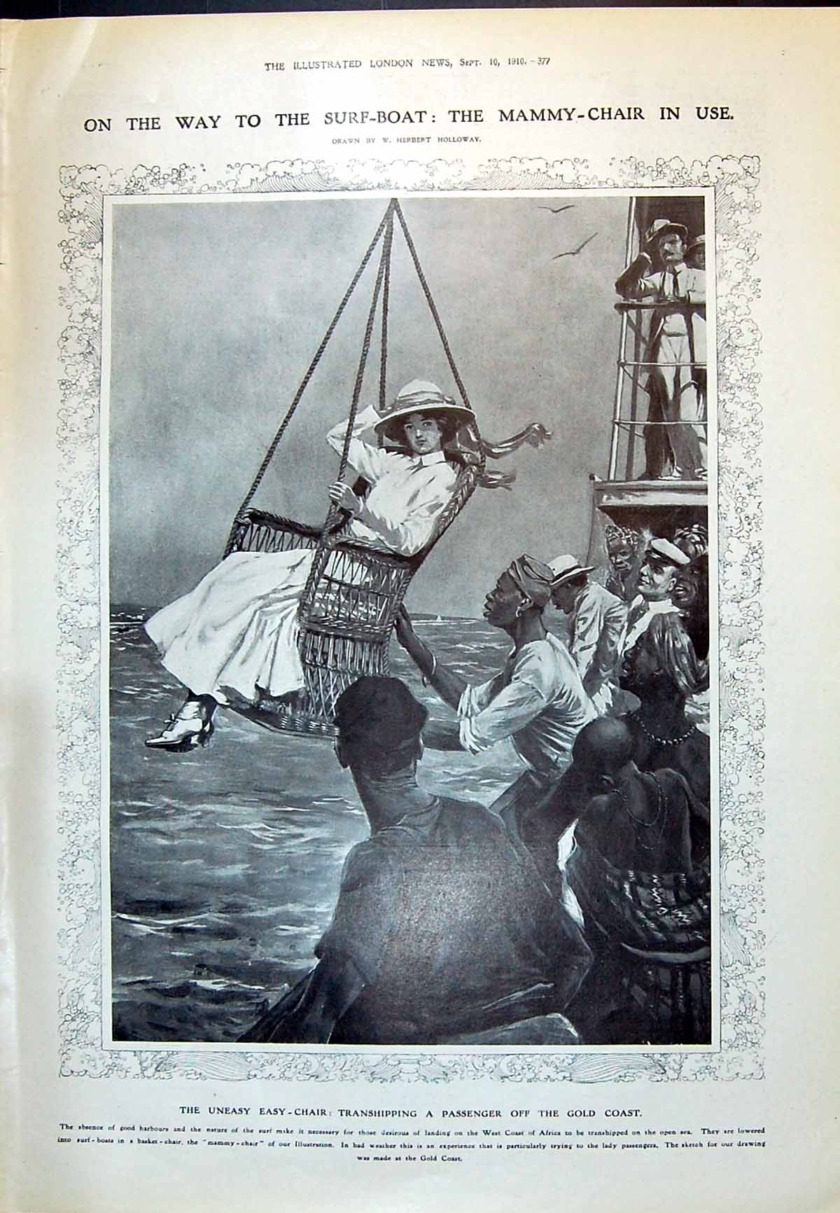 [Print 1910 Mammy-Chair Transhipping Africa Fuller Harbord Noble Bayne B 377P237 Old Original]