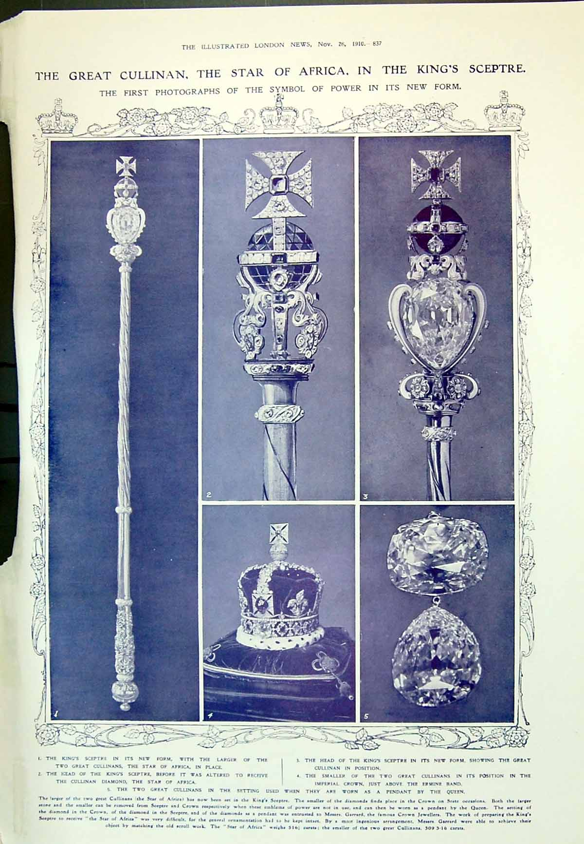 [Print 1910 Star Africa King Sceptre Imperial Crown Mountains Russia Leo 837P237 Old Original]