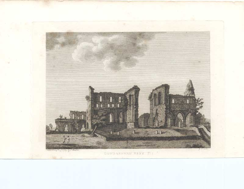 [Old Antique Print Dundrennan Abbey Pl1 Scotland 1790 093221 ]