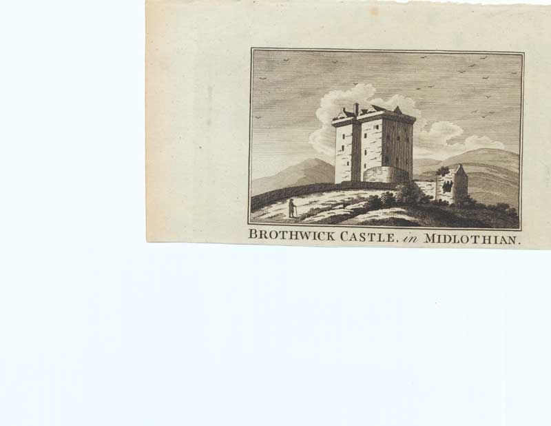 [Old Antique Print Brothwick Castle Midlothian Scotland C1790 173221 ]